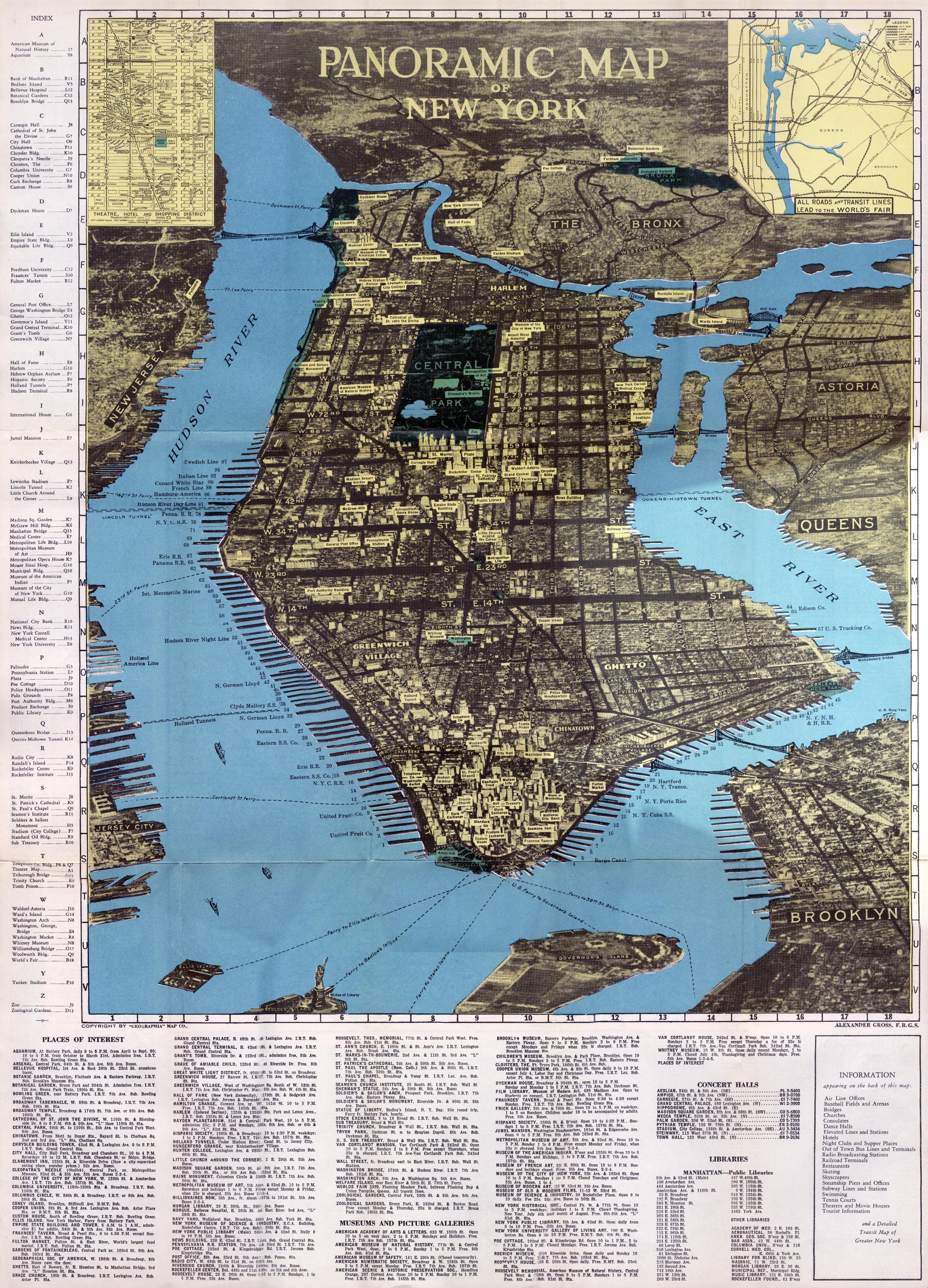 Large scale panoramic map of Manhattam, New York city | New ...