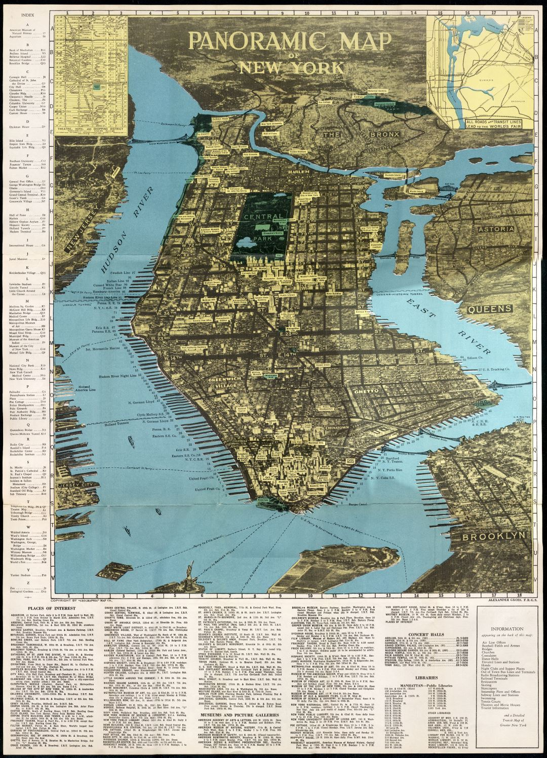 Large scale panoramic map of New York (NYC)