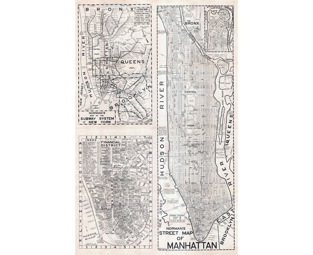 large scaled printable old street map of manhattan new york city 1945