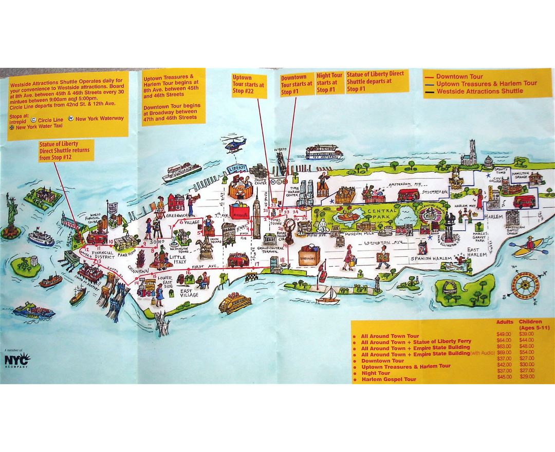 manhattan nyc travel illustrated map