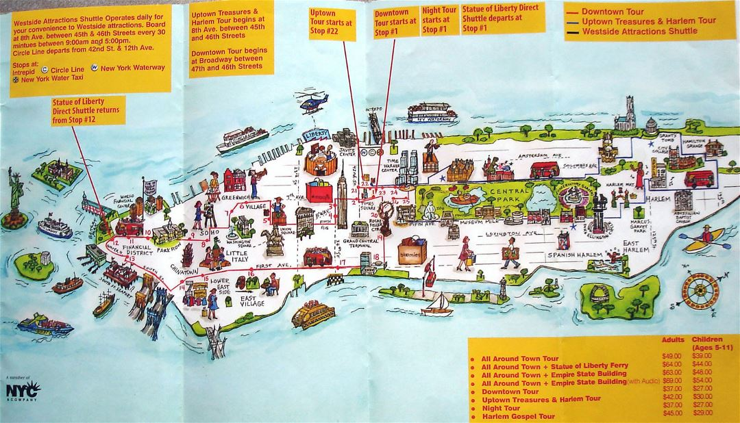 Manhattan, NYC travel illustrated map