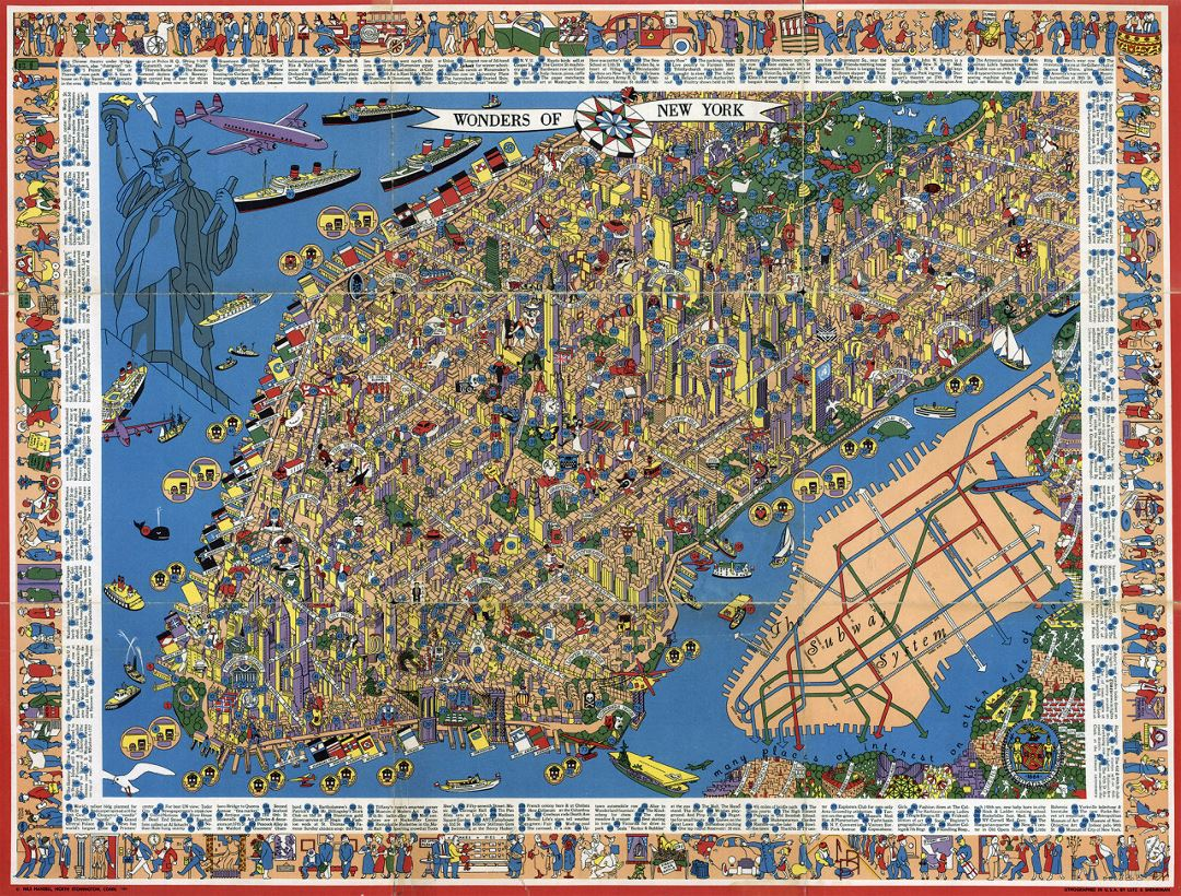 Perspective illustrated map of Manhattan