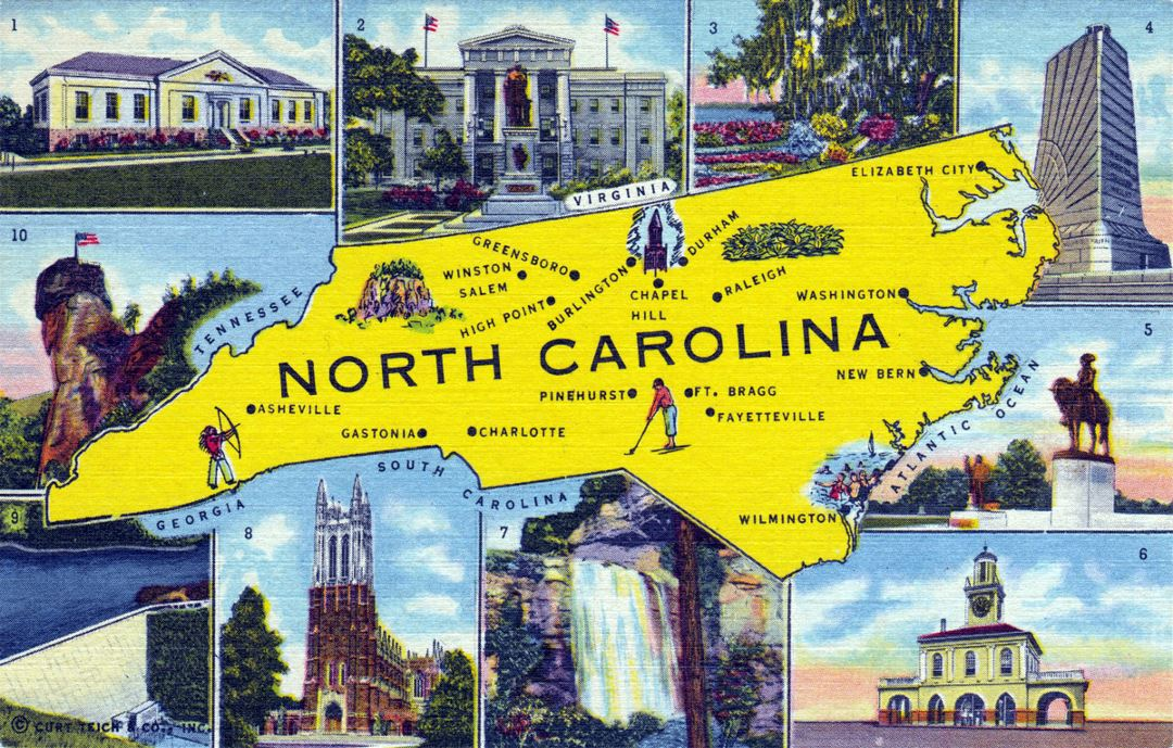Detailed North Carolina postcard with map