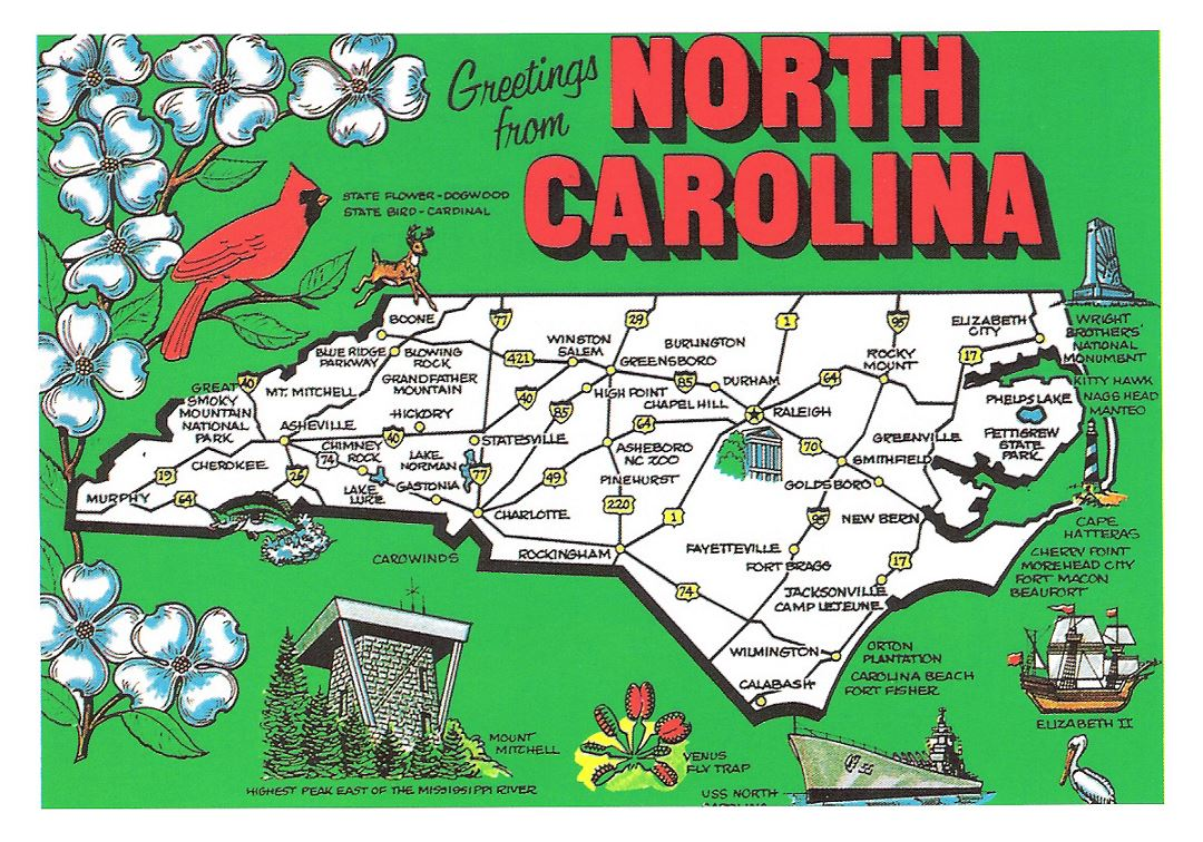 Detailed tourist illustrated map of North Carolina