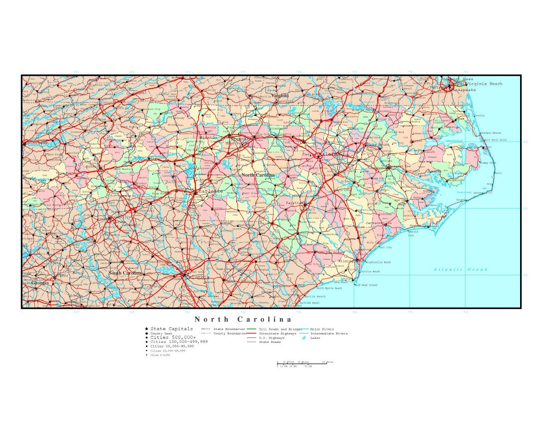 Maps of North Carolina state Collection of detailed maps of North
