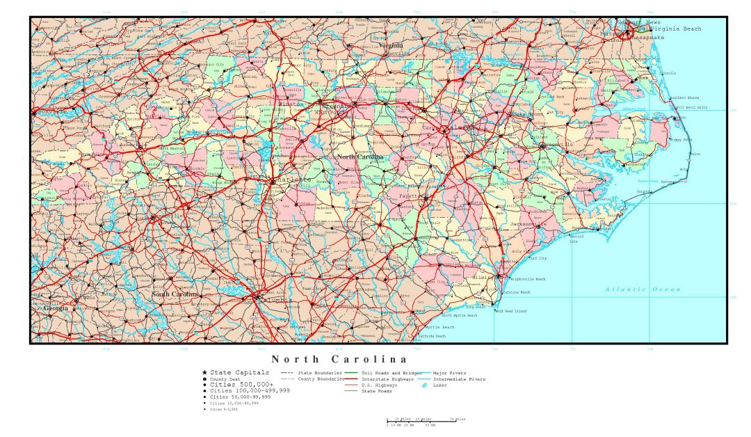 Large detailed administrative map of North Carolina state with roads, highways and major cities