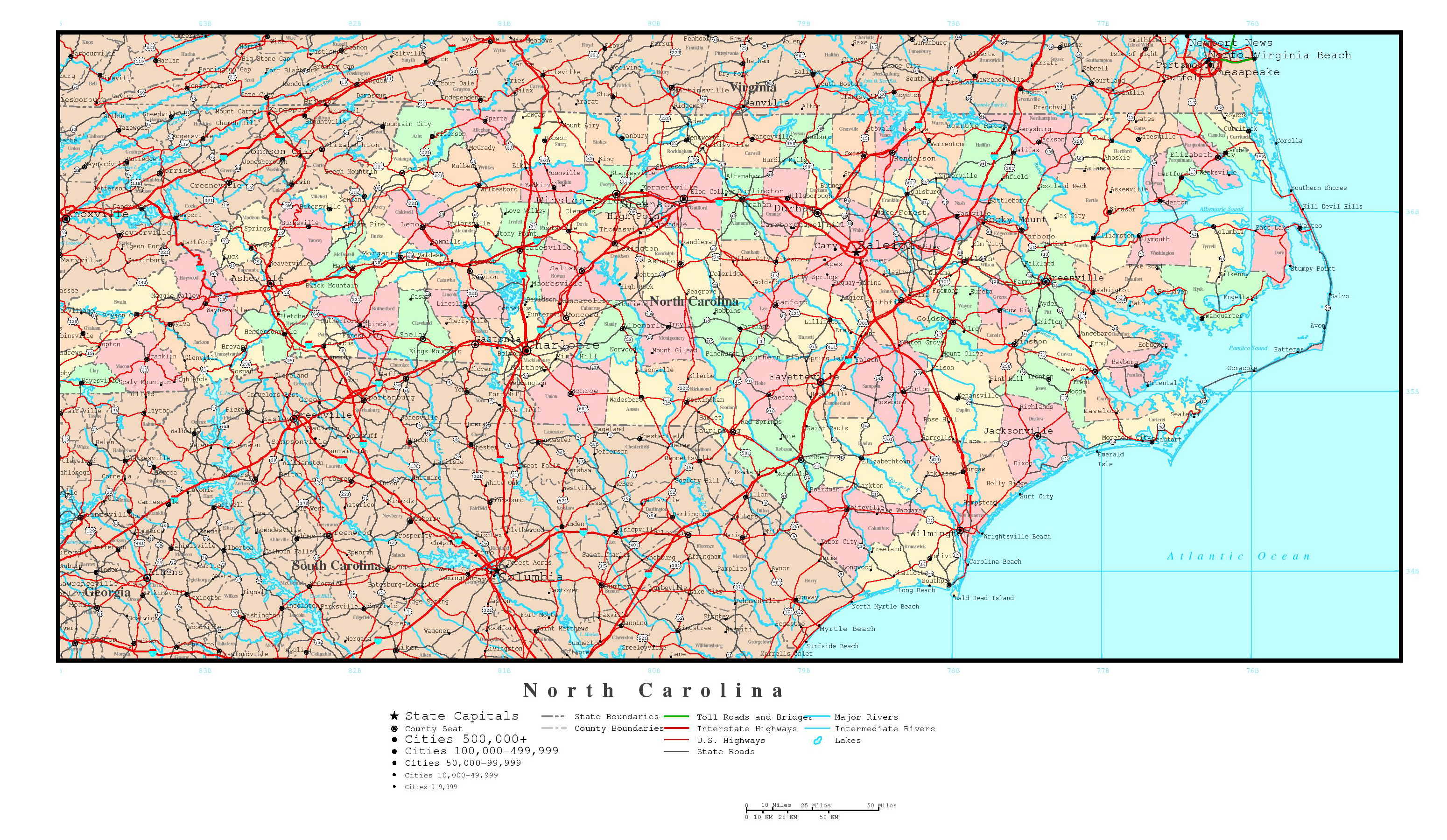 Large Detailed Administrative Map Of North Carolina State With - Usa map with major cities and highways