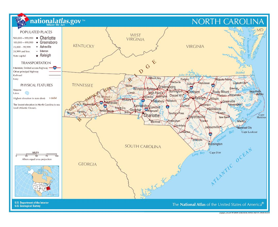 Maps Of North Carolina State Collection Of Detailed Maps Of - Map in north carolina
