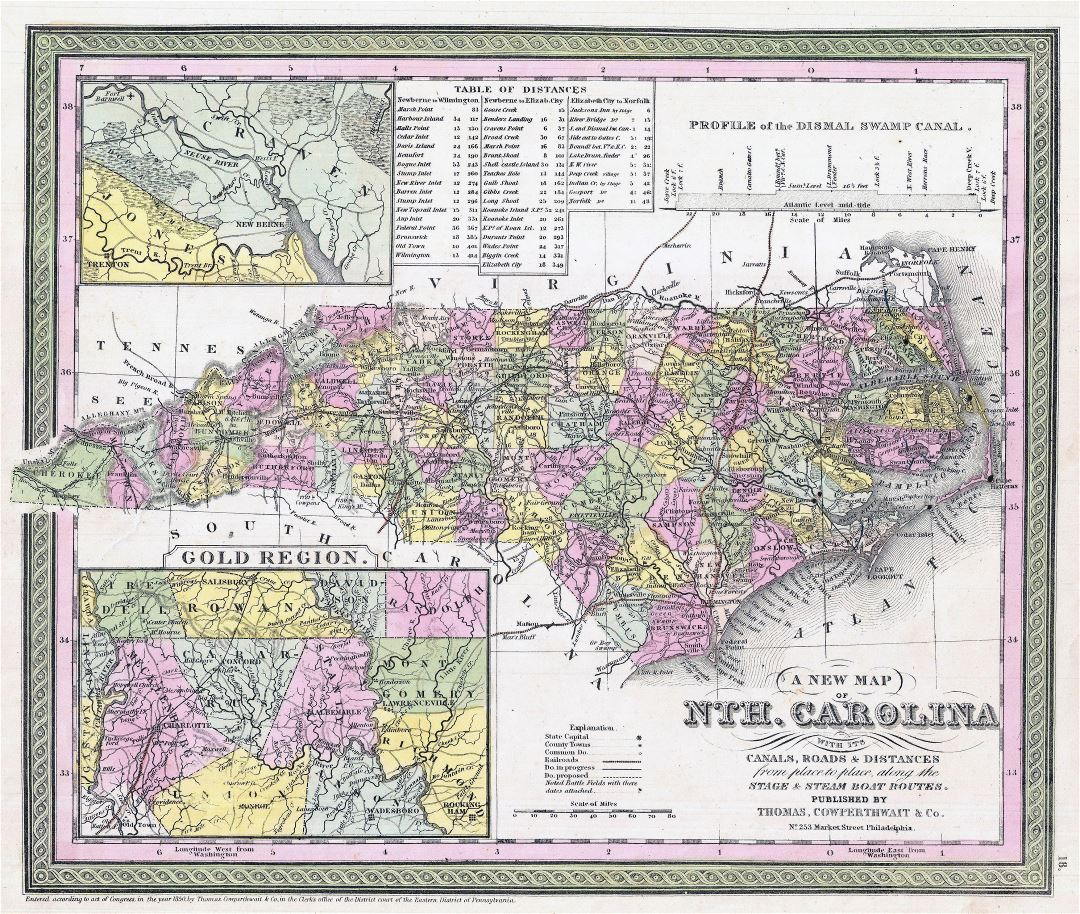Large detailed old administrative map of North Carolina state with railroads, cities and towns - 1850