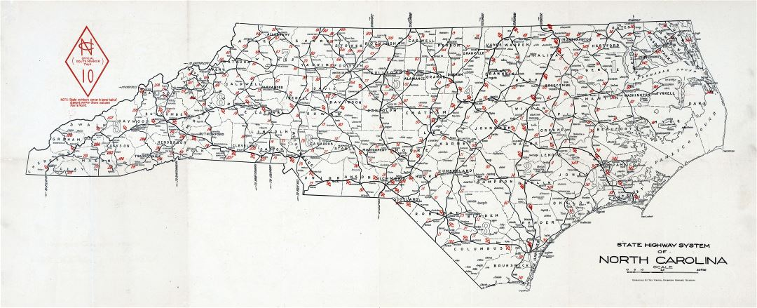 Large detailed old highways system map of North Carolina state - 1922