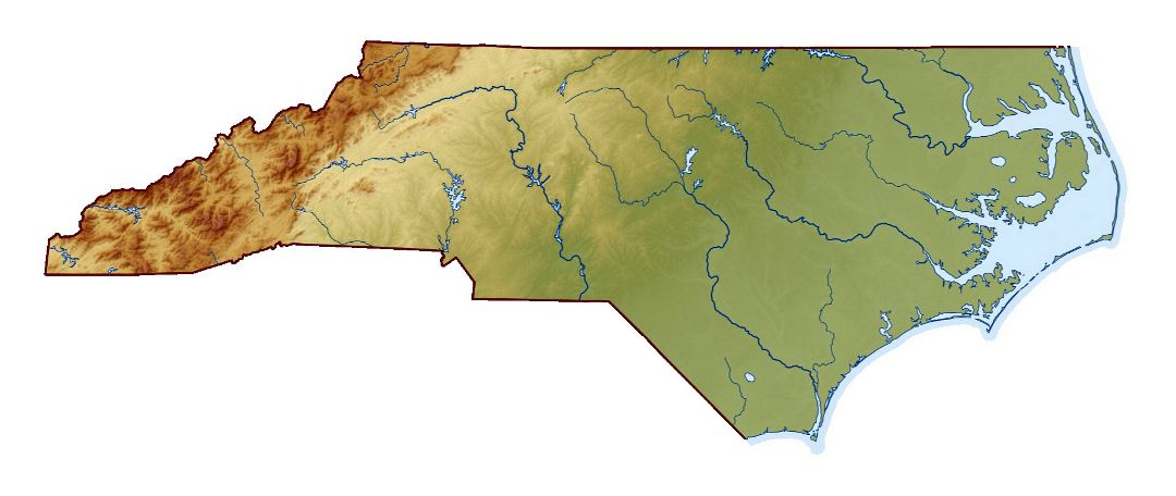 Large relief map of North Carolina state