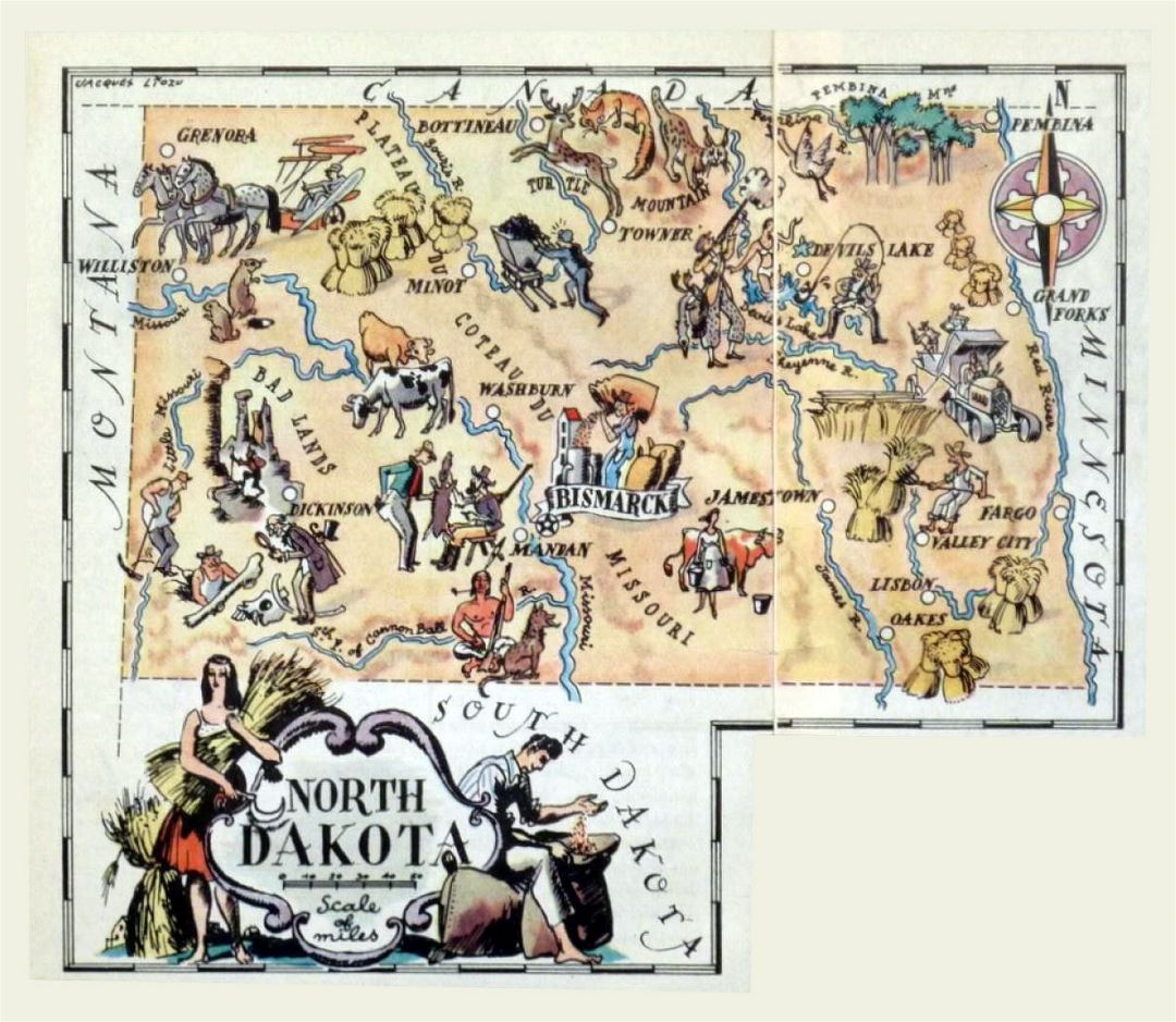 Detailed tourist illustrated map of North Dakota state
