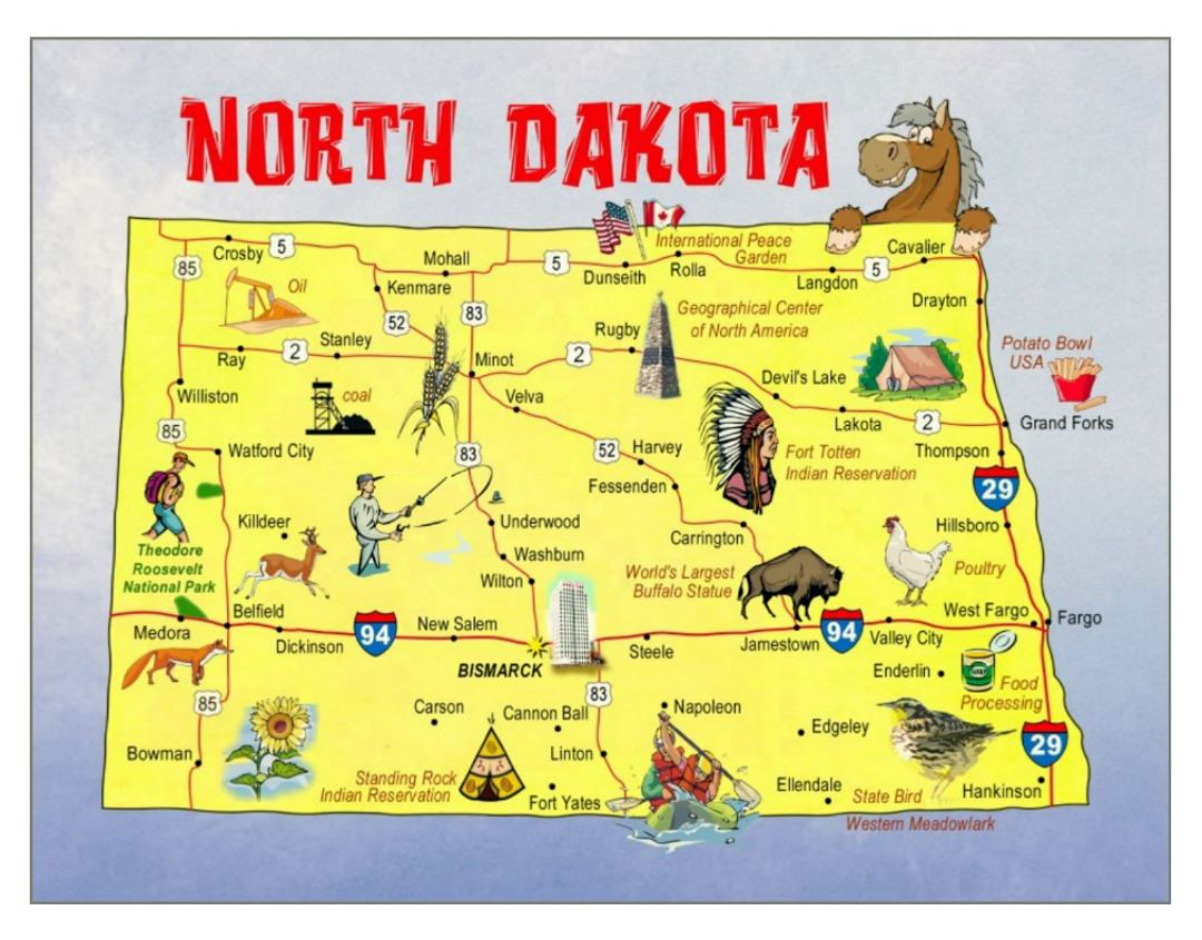 Detailed travel illustrated map of North Dakota state