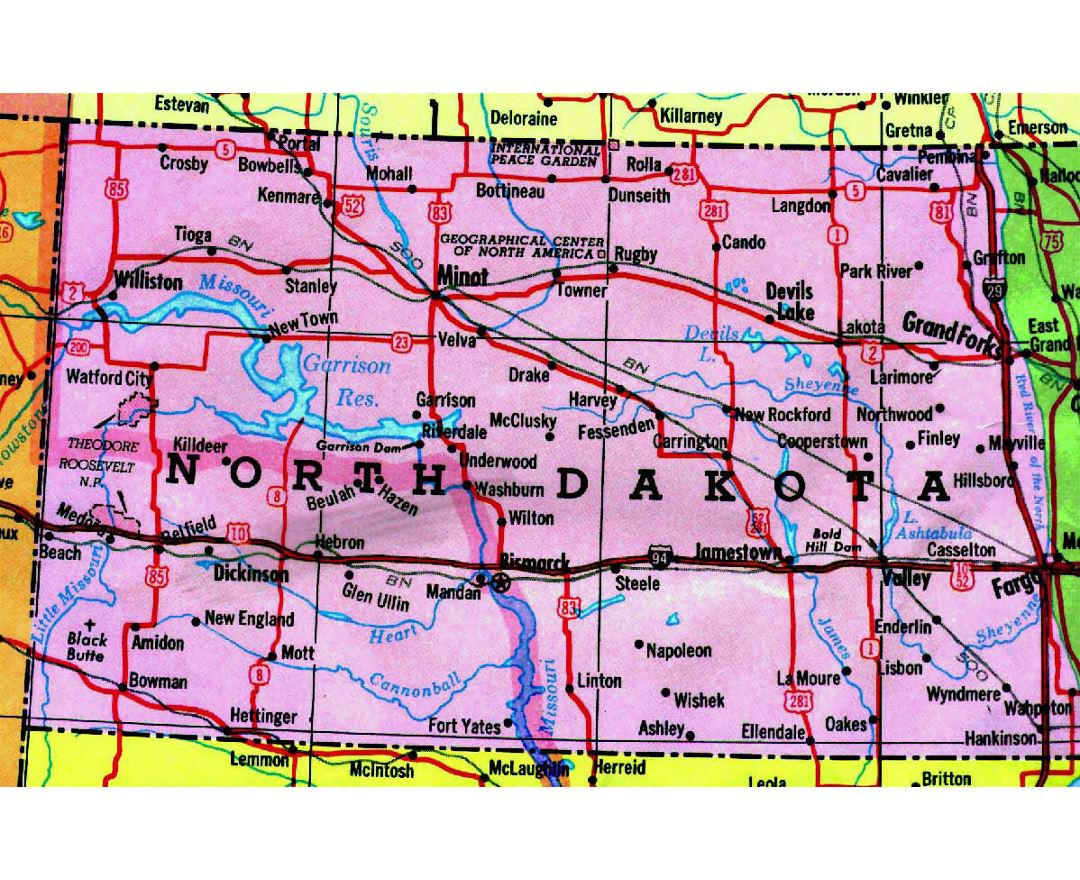 Maps of North Dakota state Collection of detailed maps of North