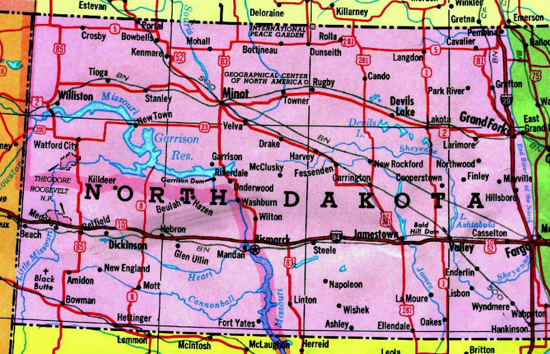 Highways map of North Dakota state