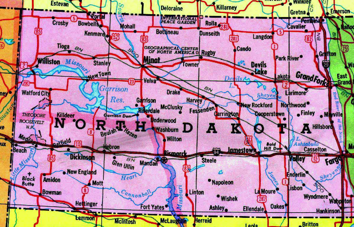 Highways map of North Dakota state | North Dakota state | USA | Maps ...