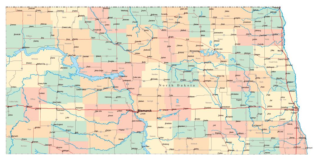 Large administrative map of North Dakota state with roads, highways and cities
