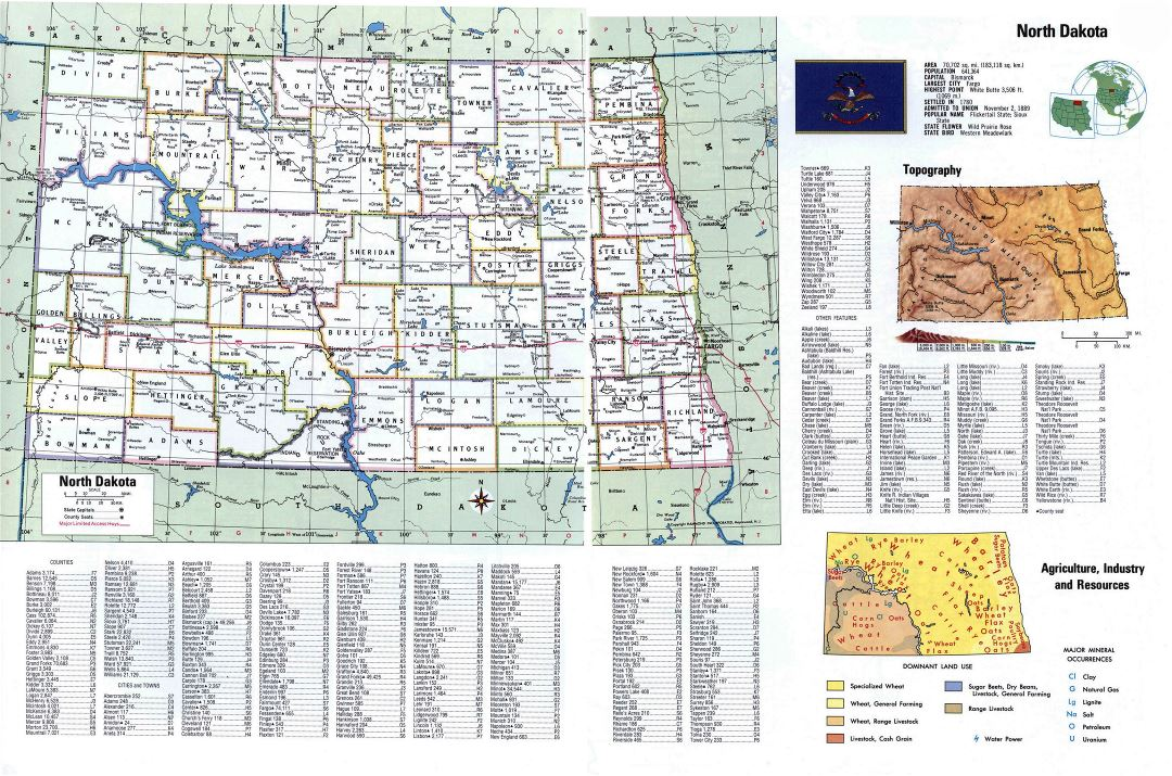 Large detailed administrative map of North Dakota state with cities