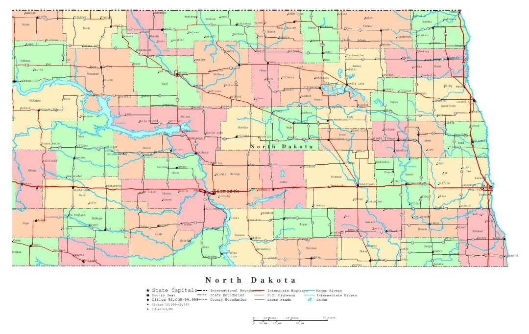Large detailed administrative map of North Dakota state with roads, highways and cities