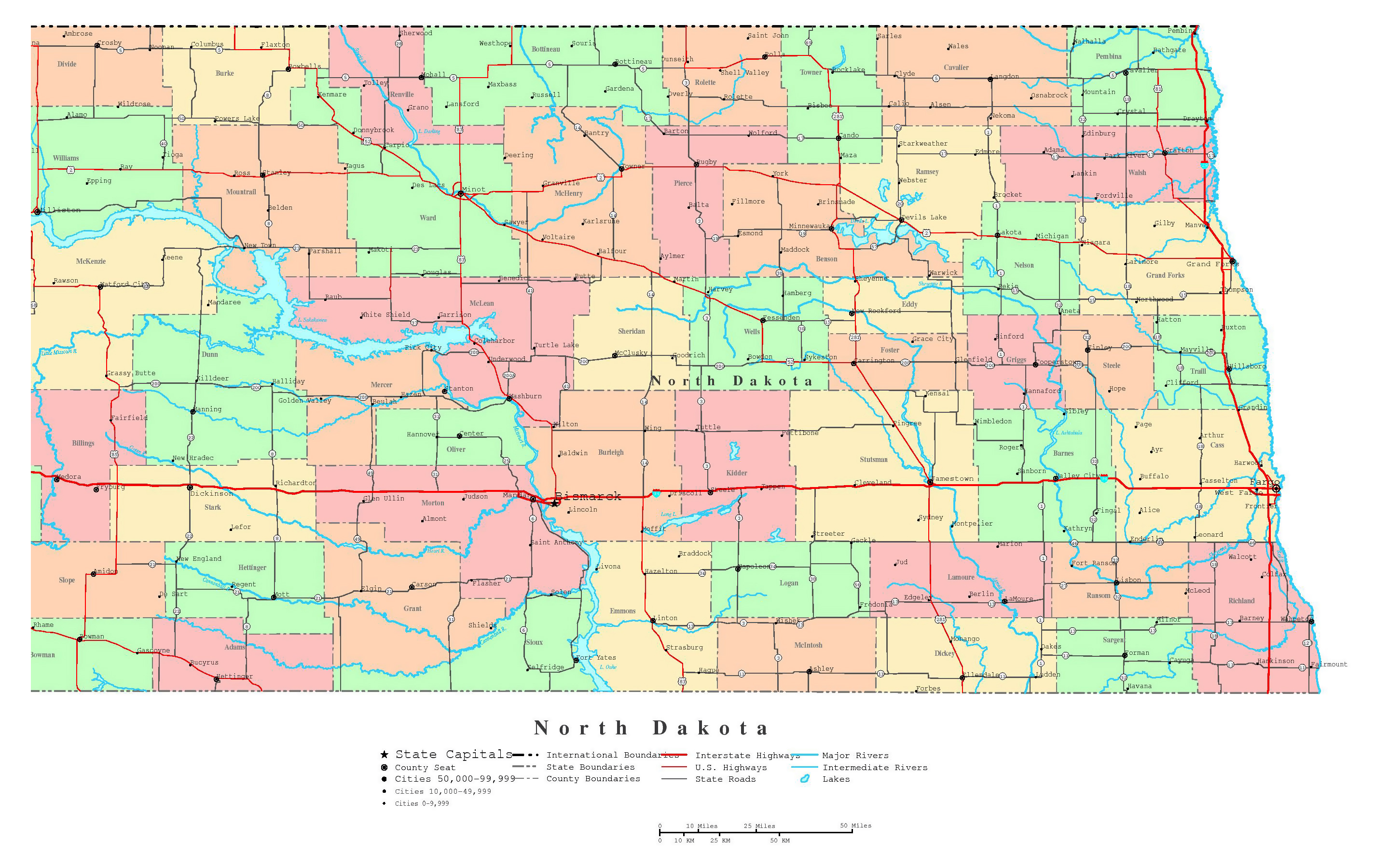 Large detailed administrative map of North Dakota state with ...