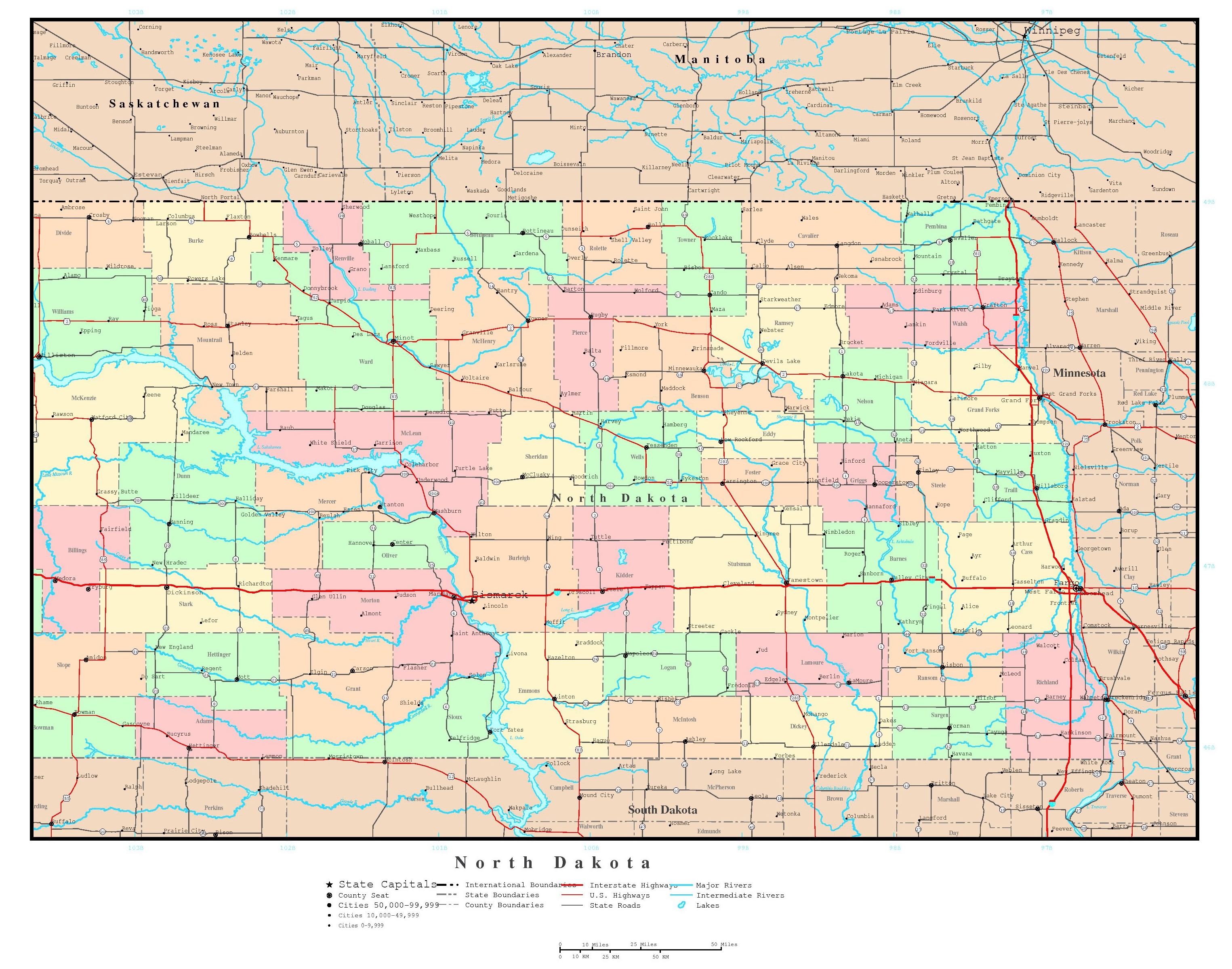 Large Detailed Administrative Map Of North Dakota State With Roads - North dakota map usa