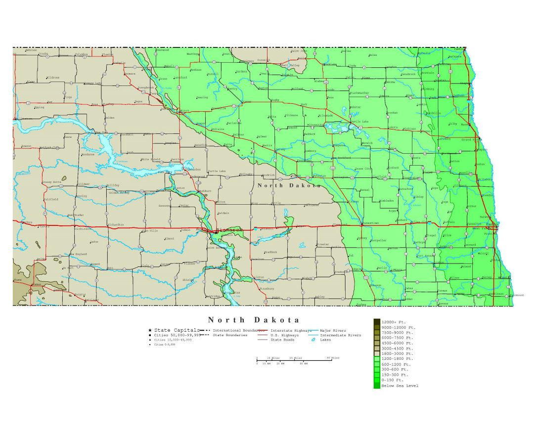 Maps Of North Dakota State Collection Of Detailed Maps Of North - North dakota road map with cities