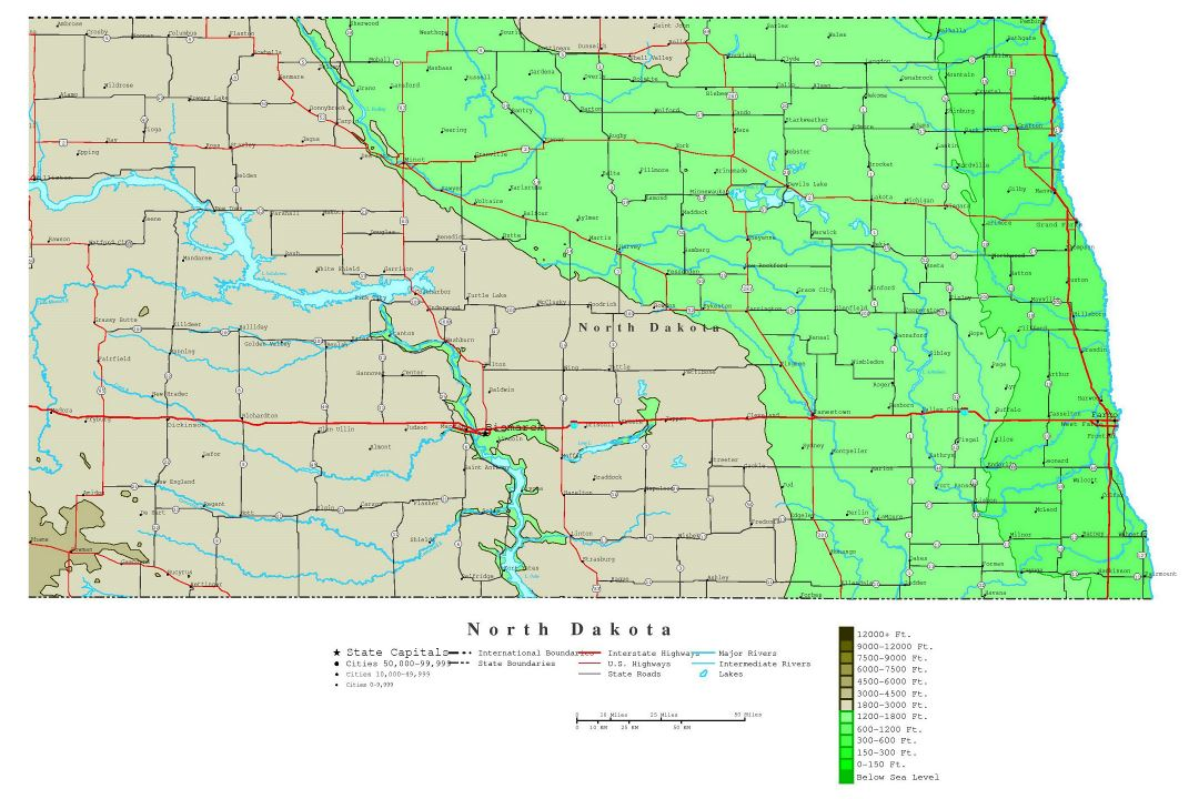 Large detailed elevation map of North Dakota state with roads, highways and cities