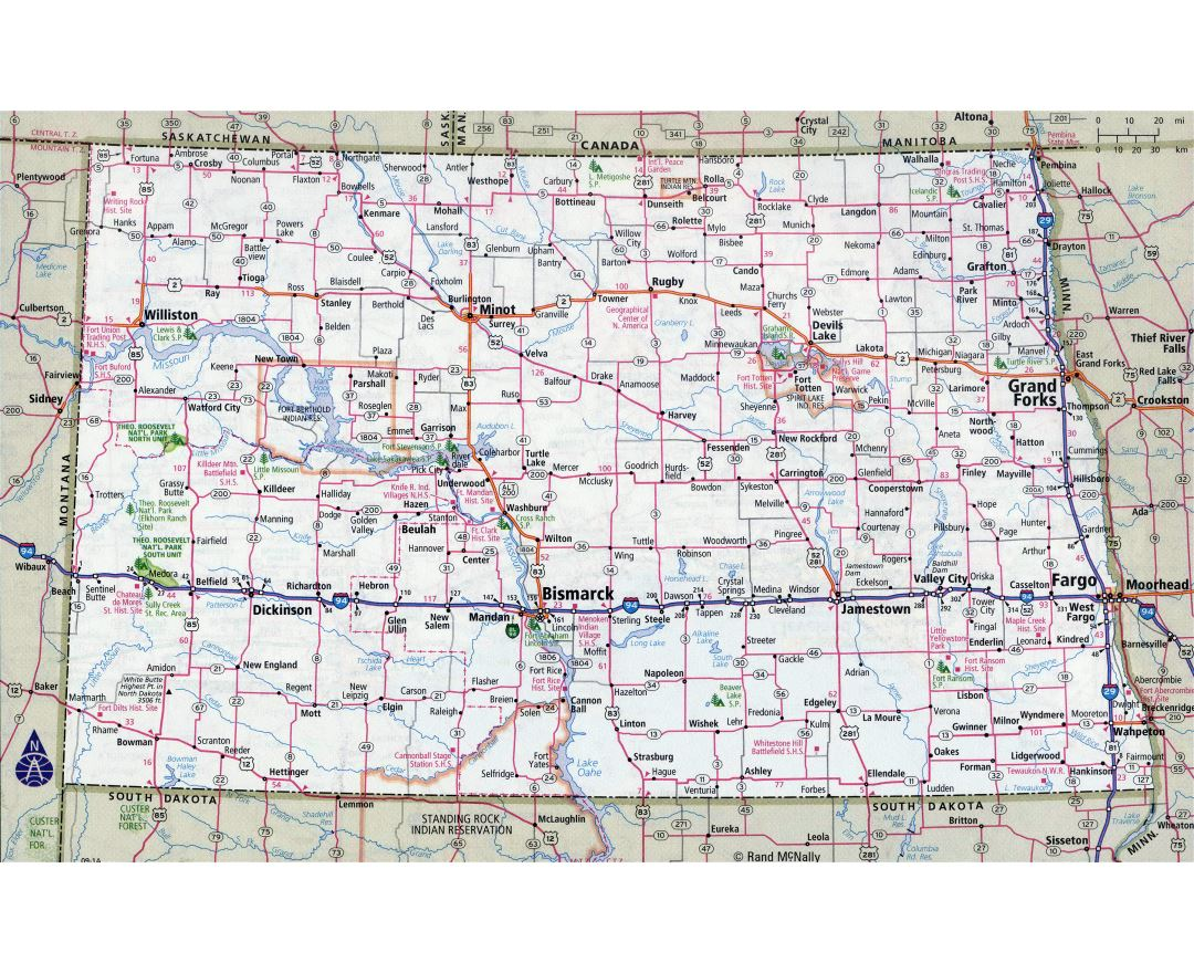 Maps Of North Dakota State Collection Of Detailed Maps Of North - Map of us with roads