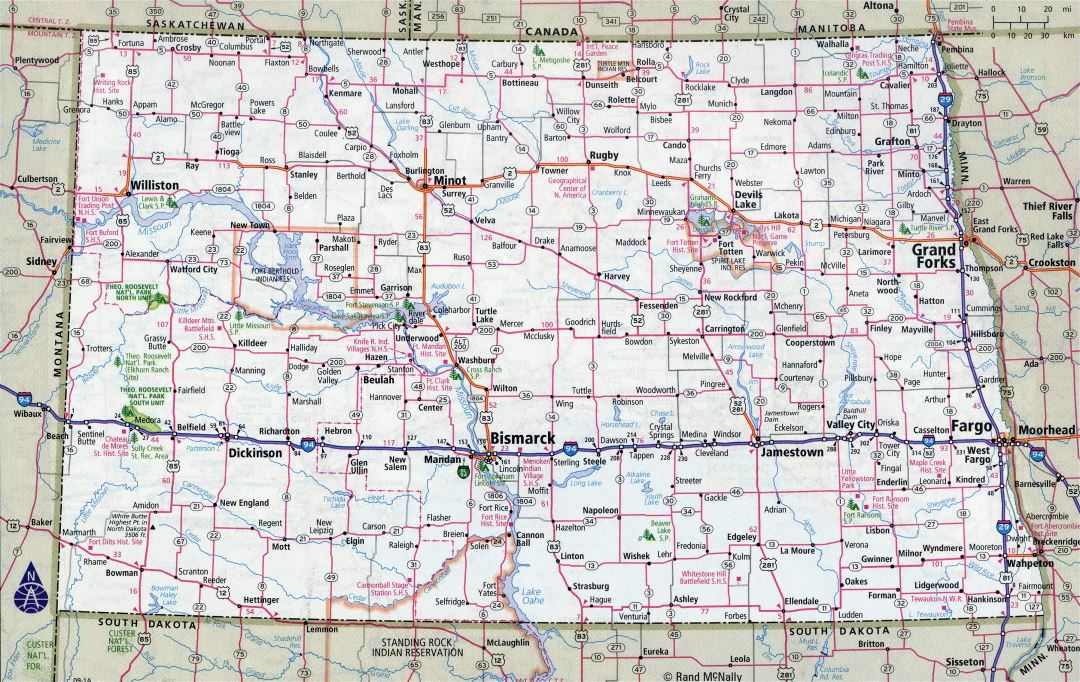 Large detailed roads and highways map of North Dakota state with all cities