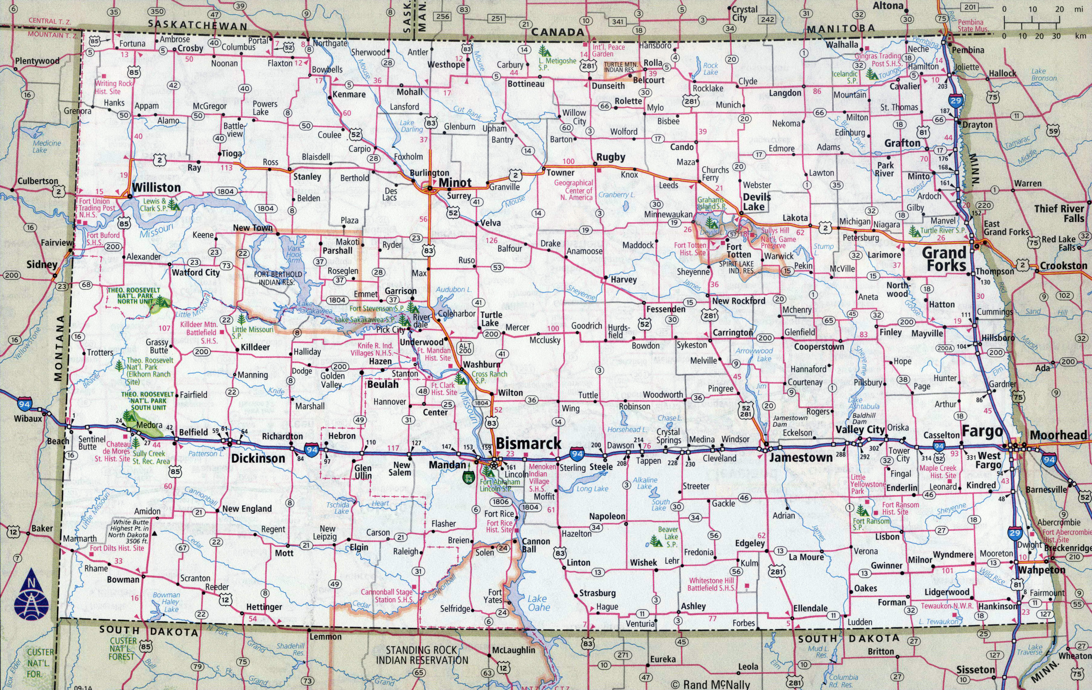 Large detailed roads and highways map of North Dakota state with all ...