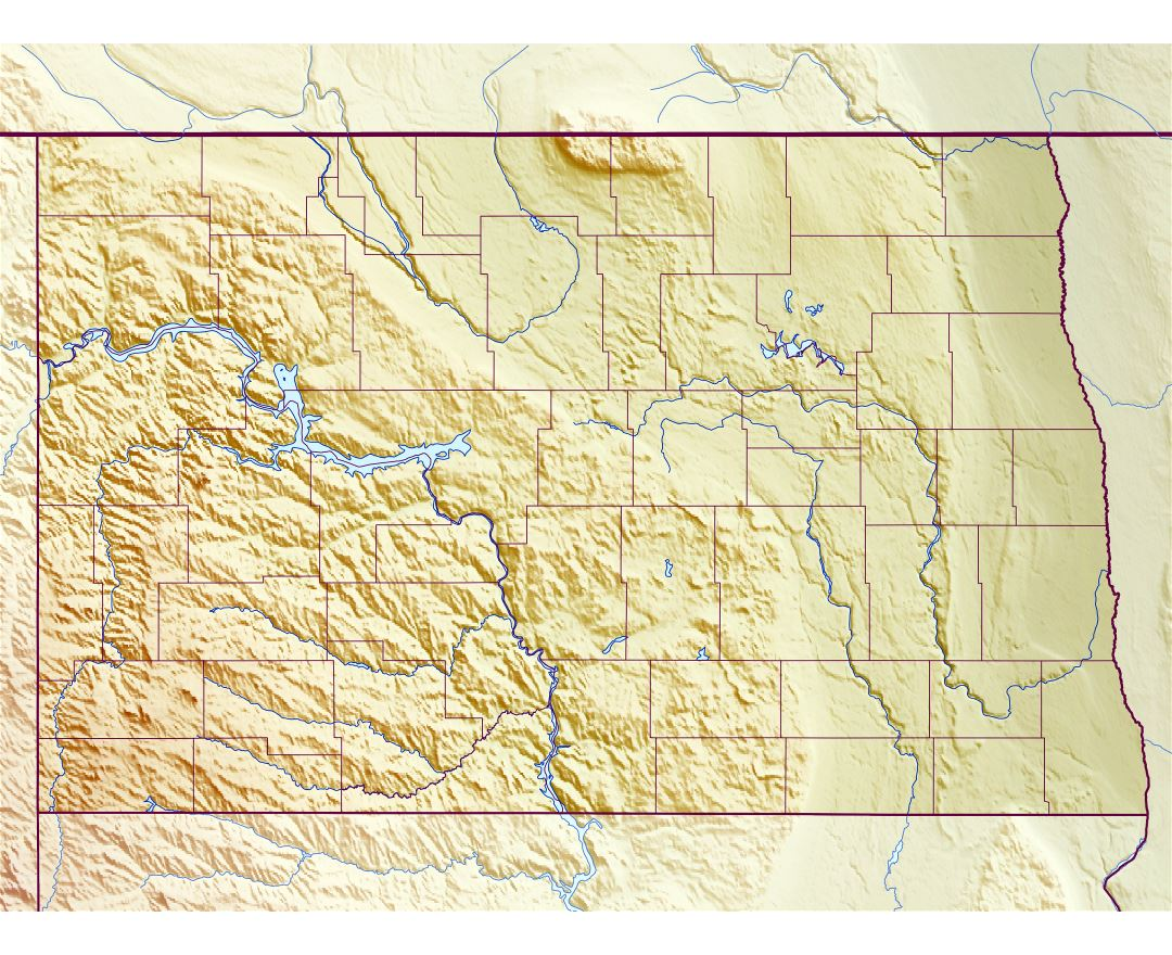 Large relief map of North Dakota state