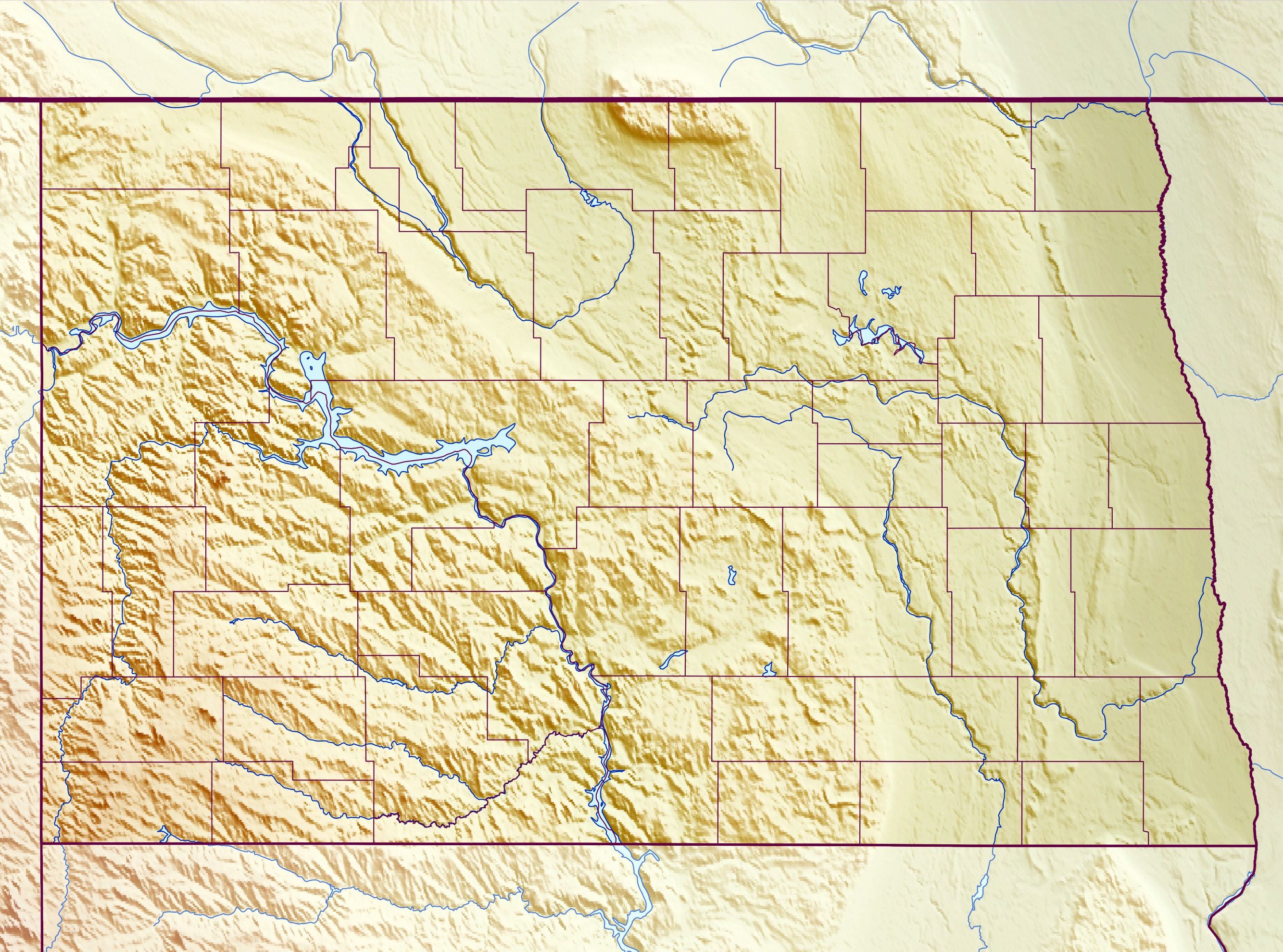 Large Relief Map Of North Dakota State North Dakota State USA - North dakota in usa map