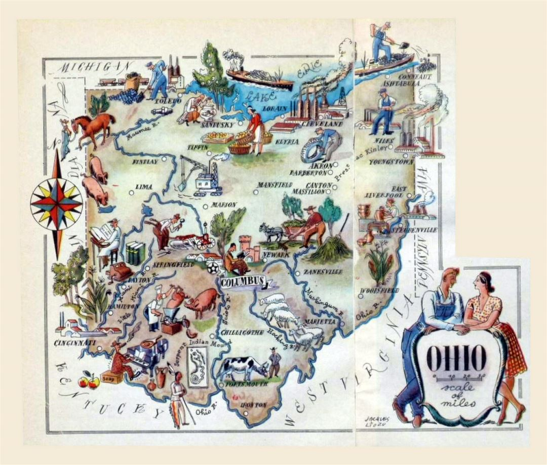 Detailed tourist illustrated map of Ohio state