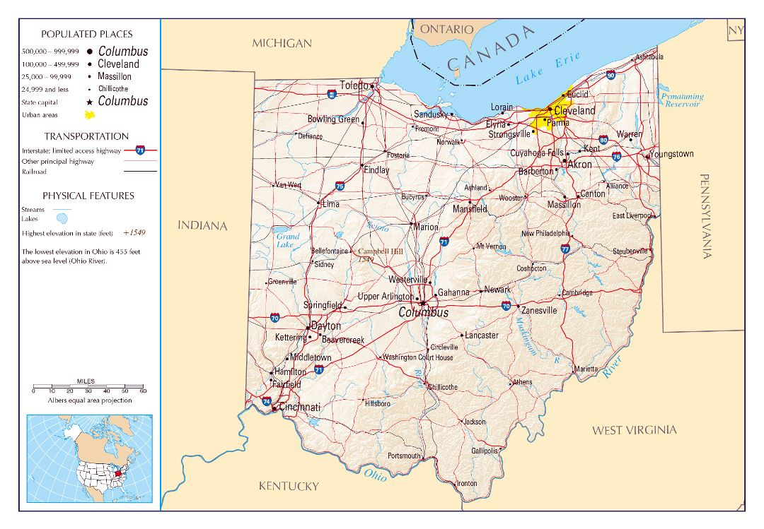Large detailed map of Ohio state