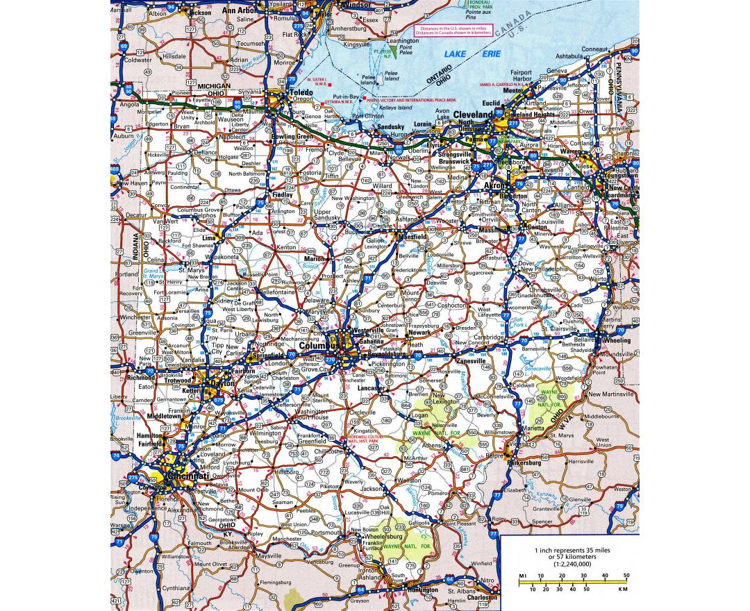 Maps Of Ohio State Collection Of Detailed Maps Of Ohio State - Highway map of usa with states and cities