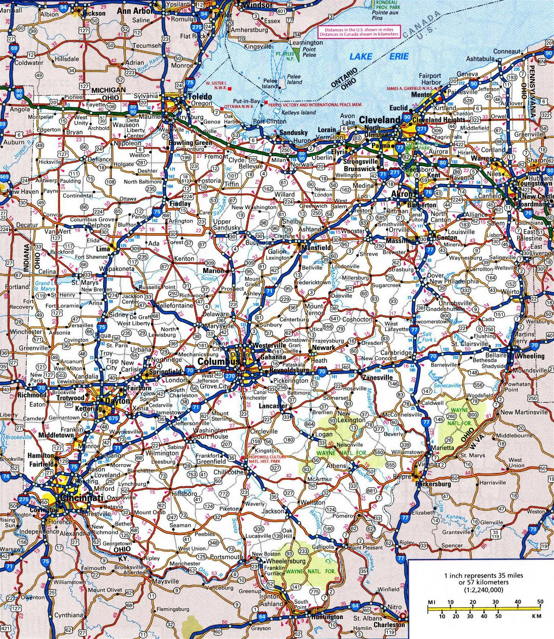 Large detailed roads and highways map of Ohio state with all cities and national parks