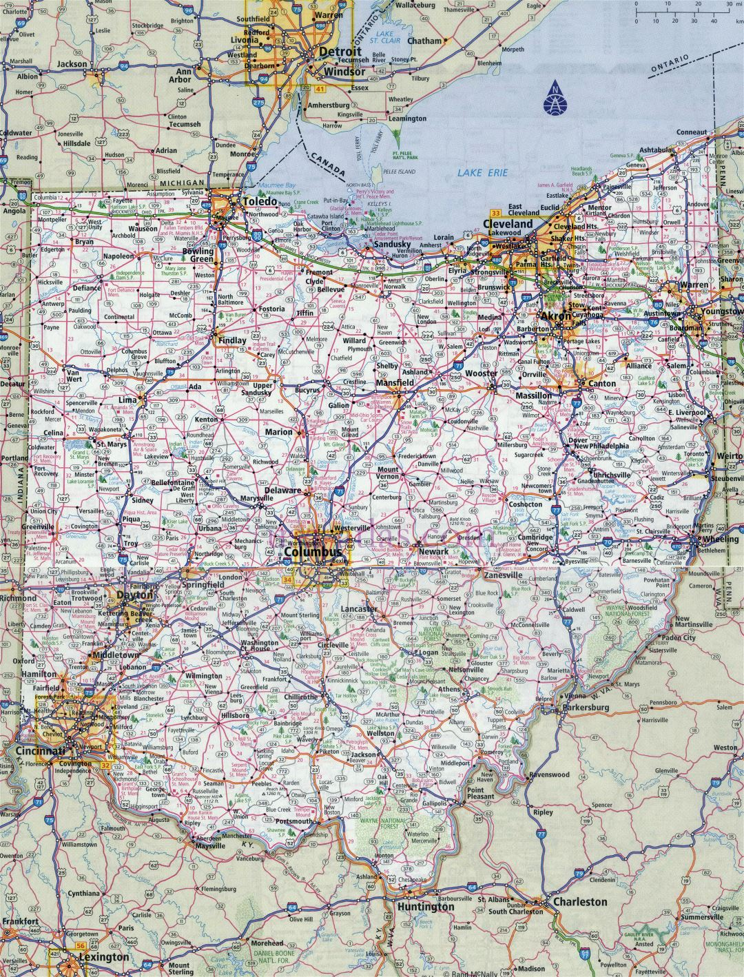 Large detailed roads and highways map of Ohio state with all cities