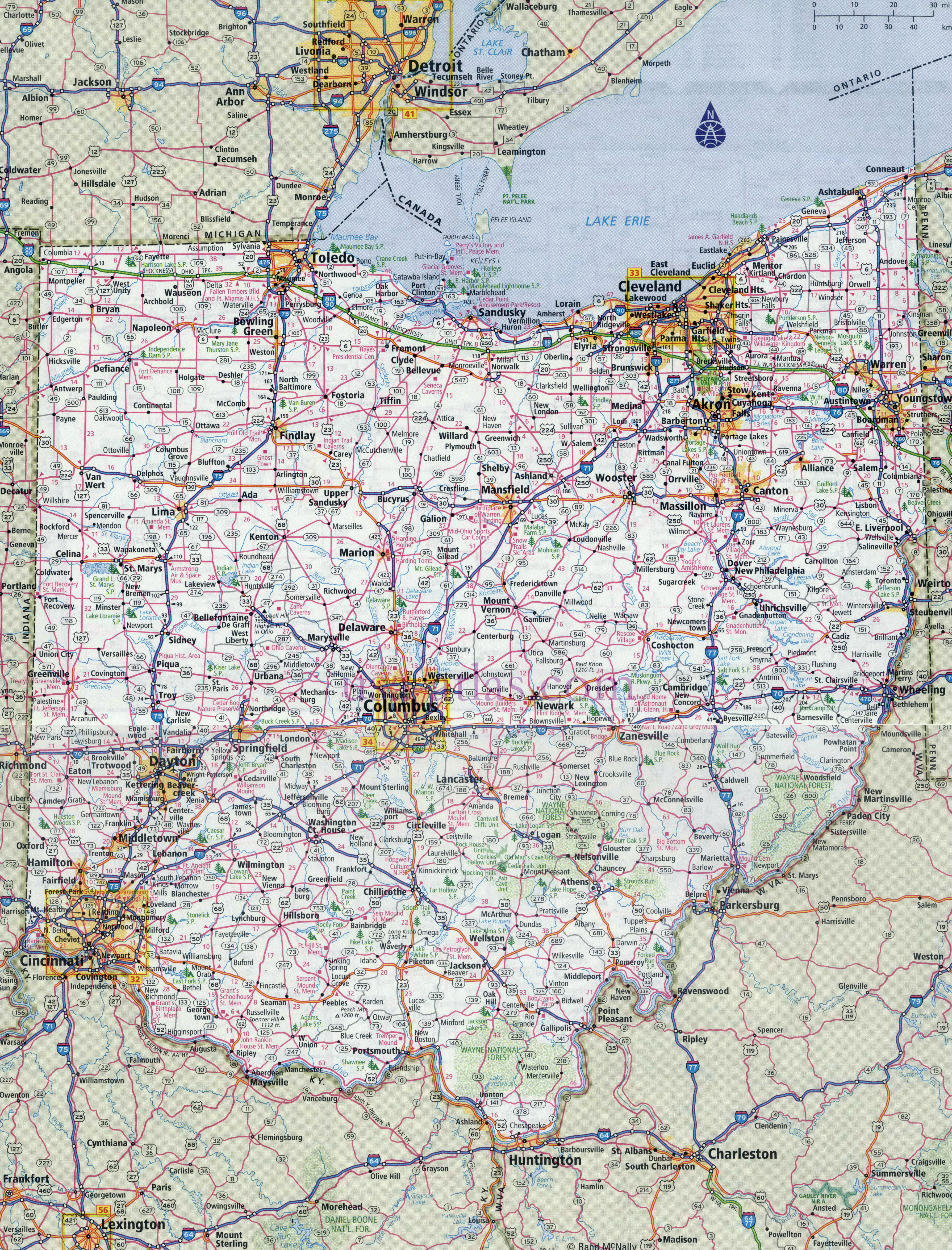Large detailed roads and highways map of Ohio state with all