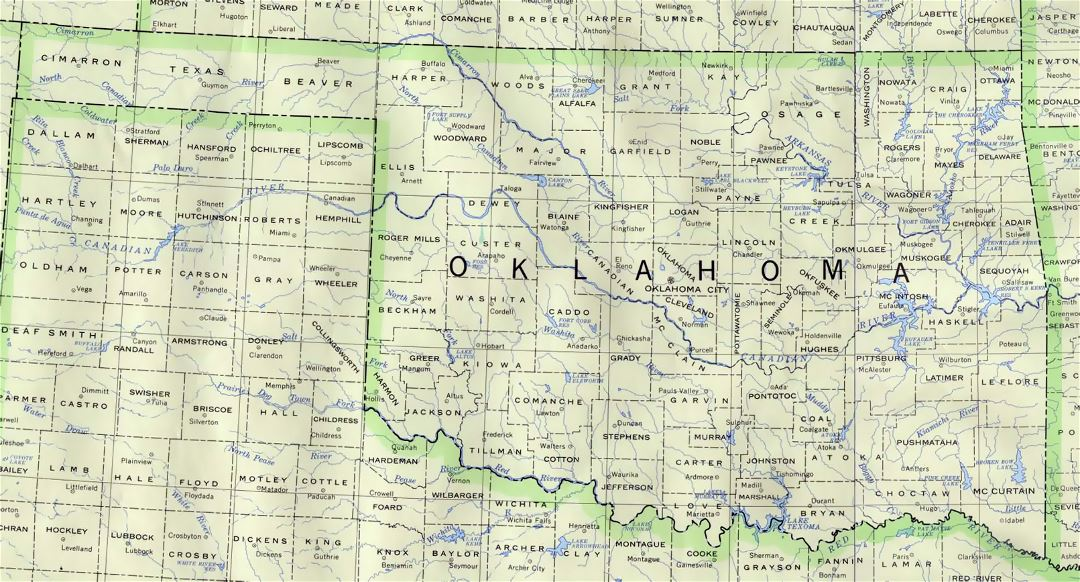 Administrative map of Oklahoma state