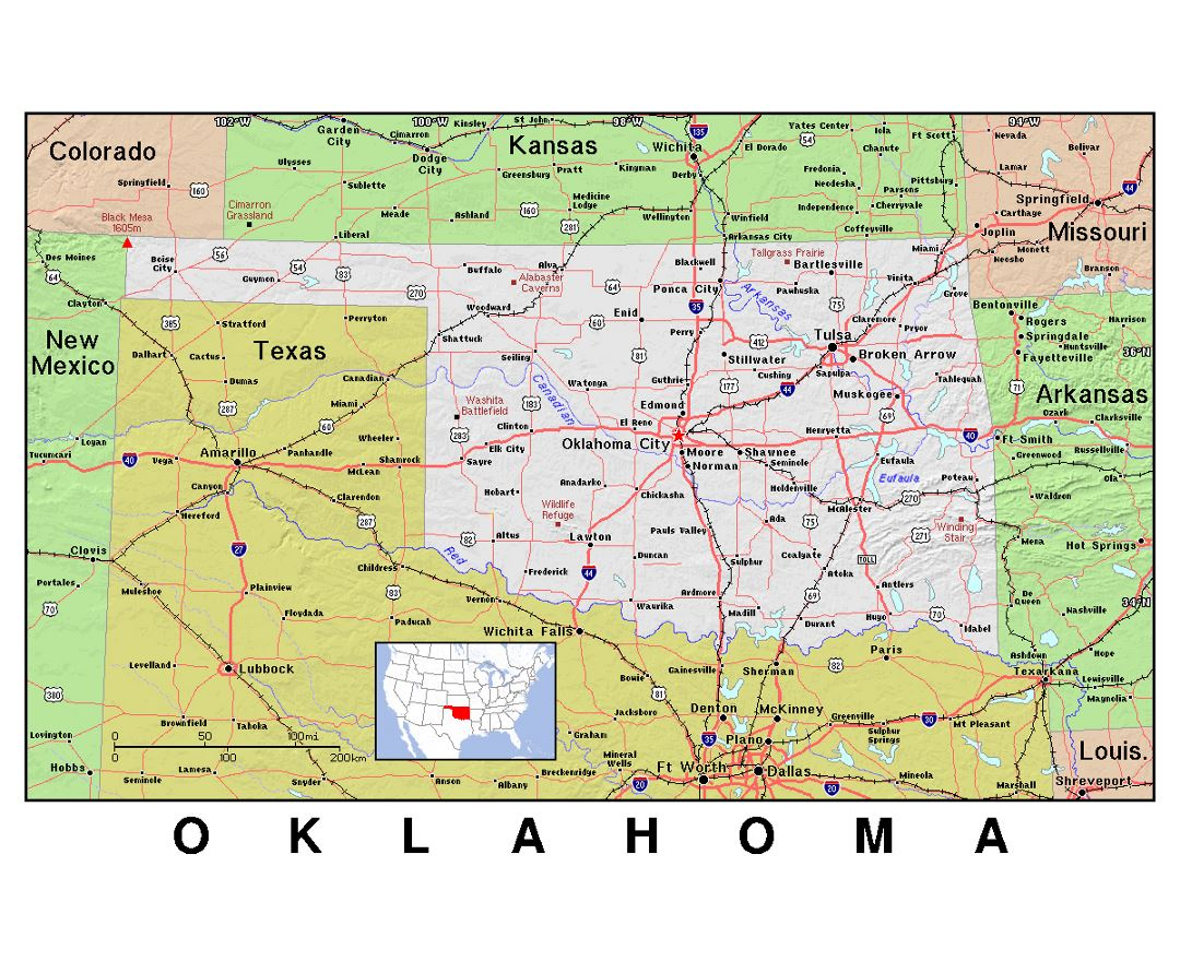 State Map Of Kansas And Oklahoma.Maps Of Oklahoma Collection Of Maps Of Oklahoma State Usa Maps