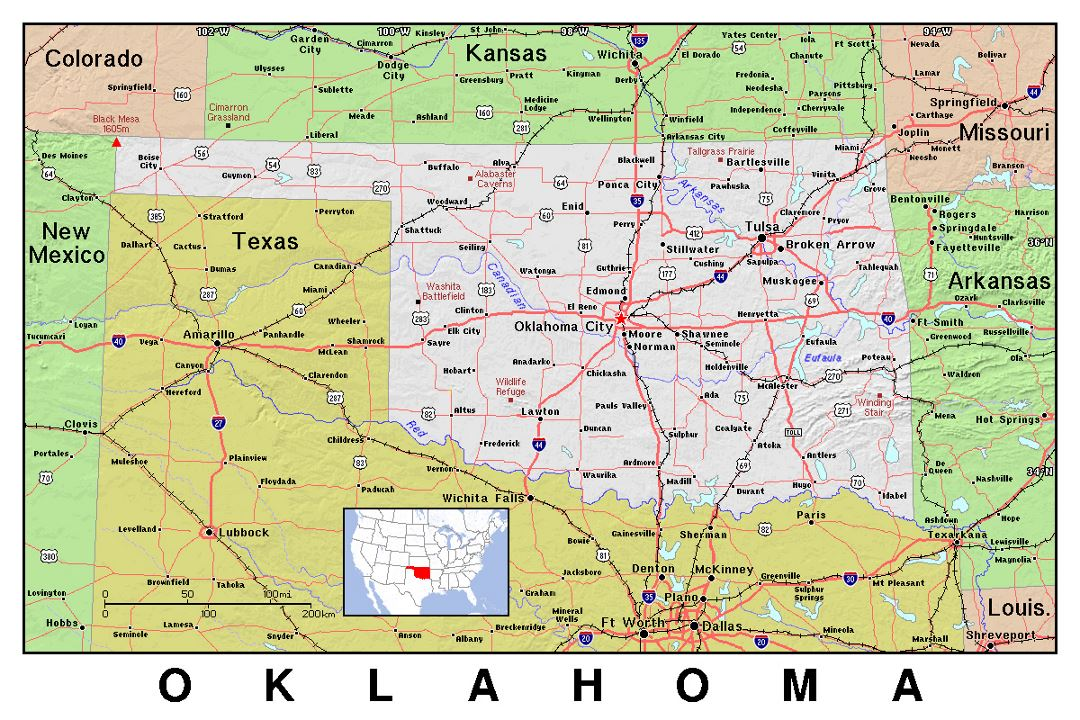 Detailed map of Oklahoma state with relief