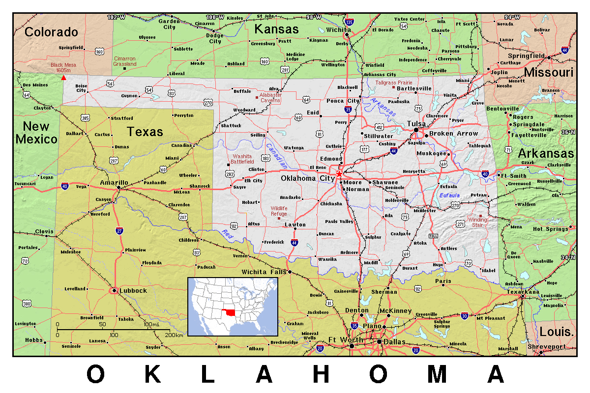 Detailed map of Oklahoma state with relief | Oklahoma state | USA ...