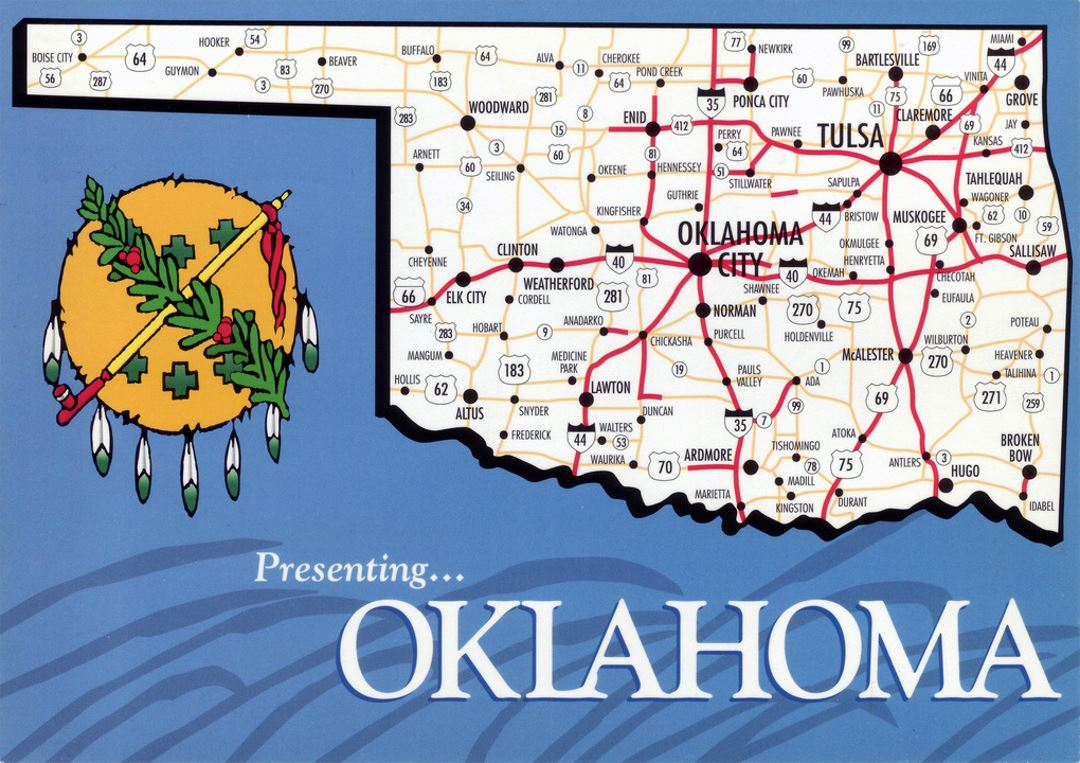 Detailed map of Oklahoma state with roads and highways
