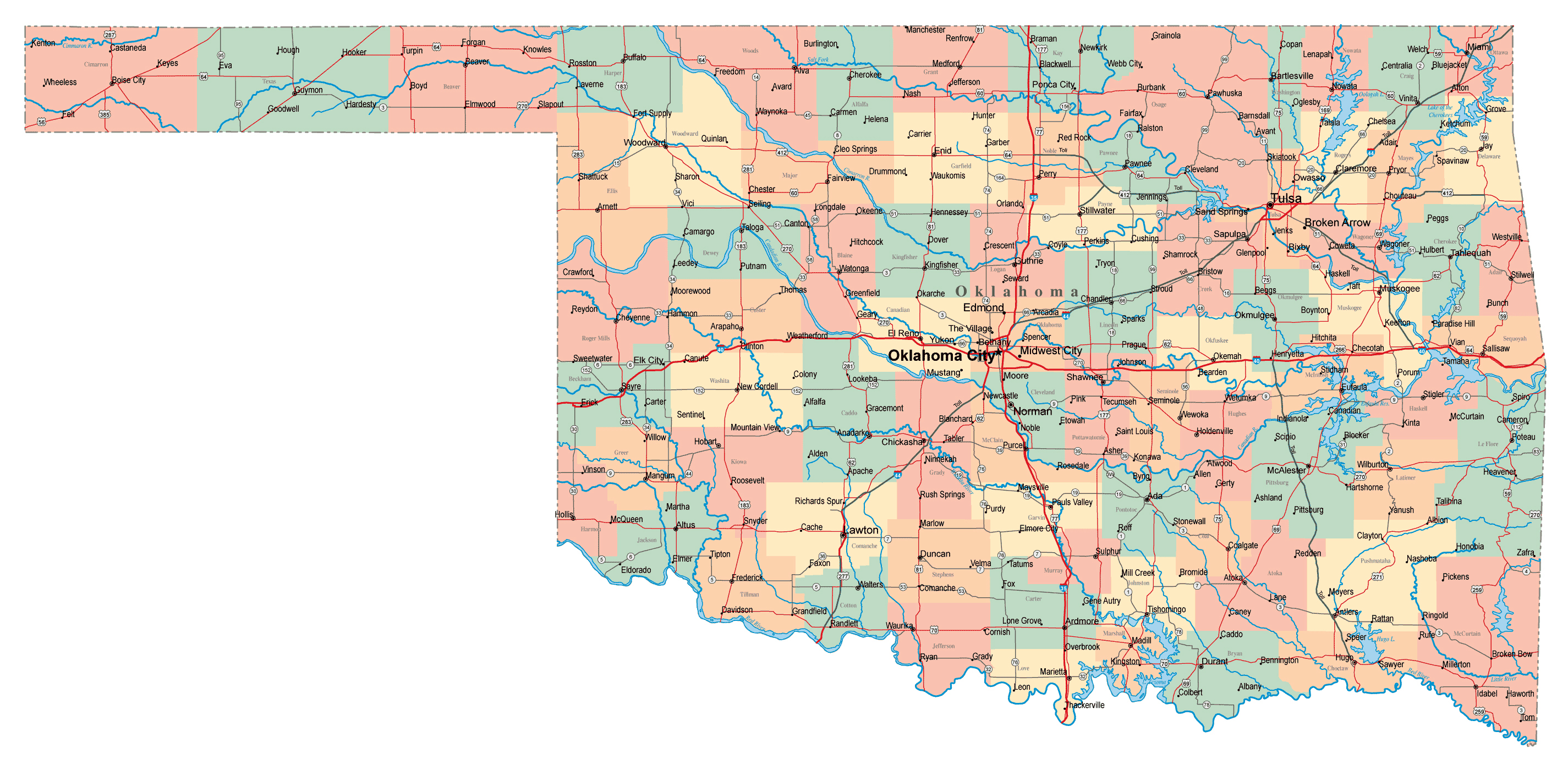 large administrative map of oklahoma state with roads highways and cities