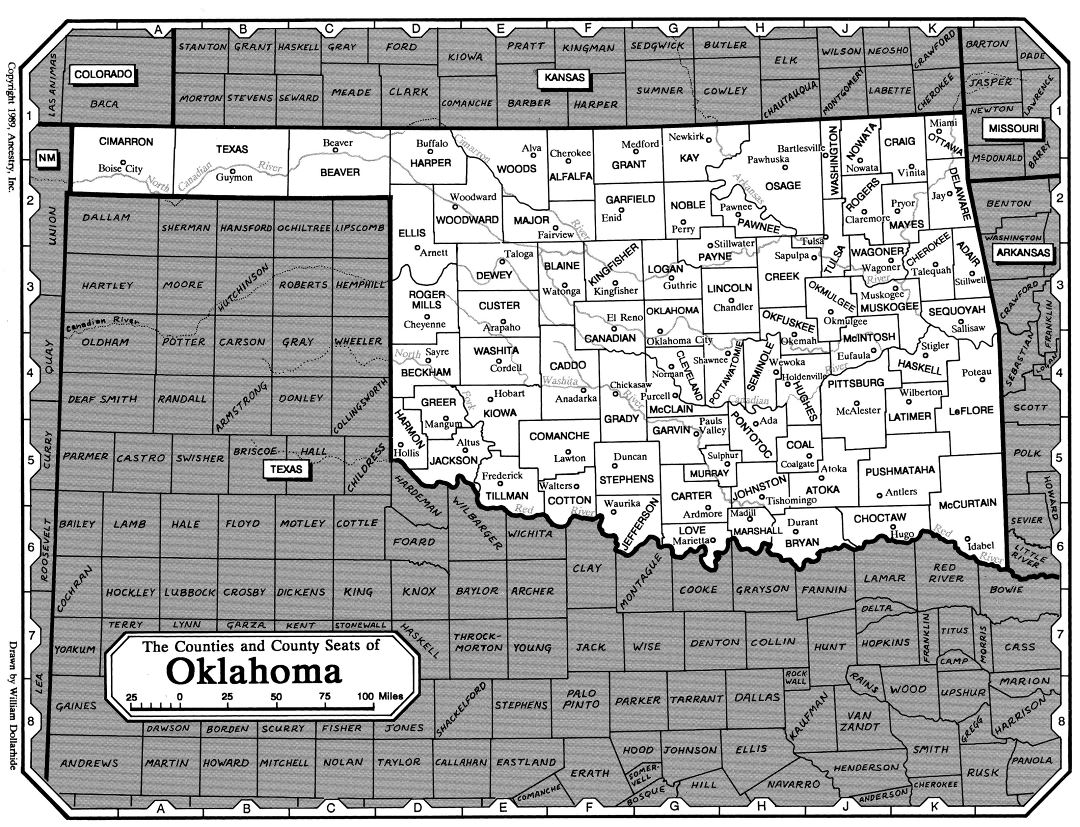 Large detailed administrative map of Oklahoma state
