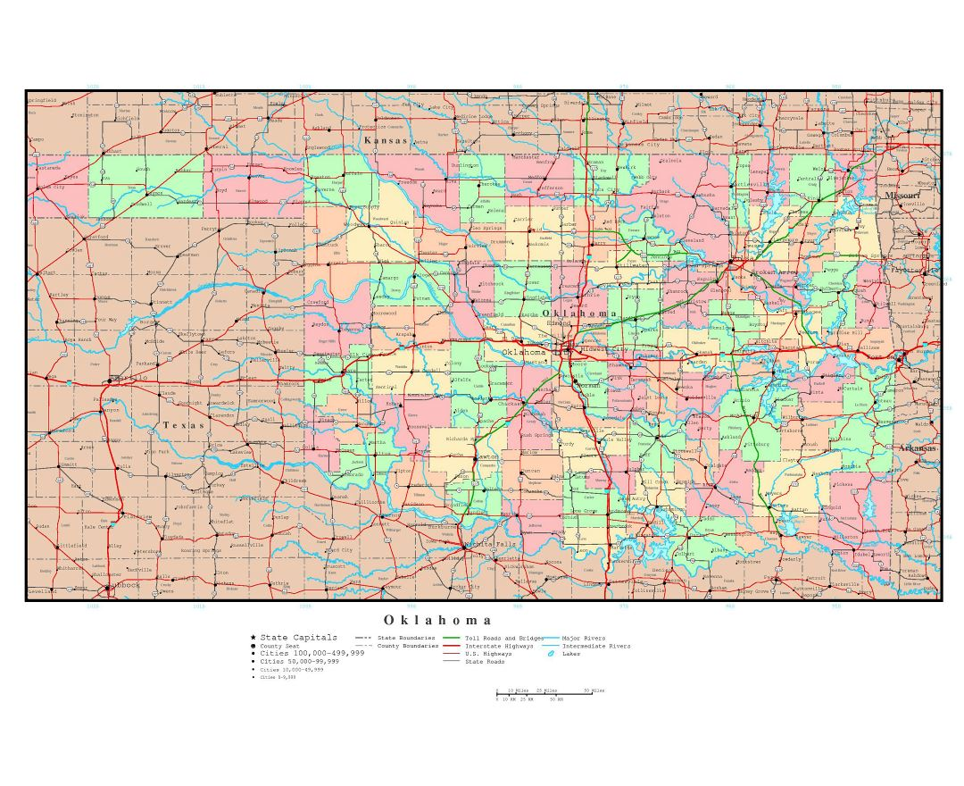 Maps of Oklahoma state Collection of detailed maps of Oklahoma
