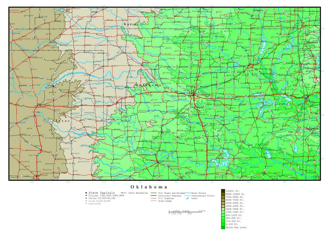 Large detailed elevation map of Oklahoma state with roads, highways and cities