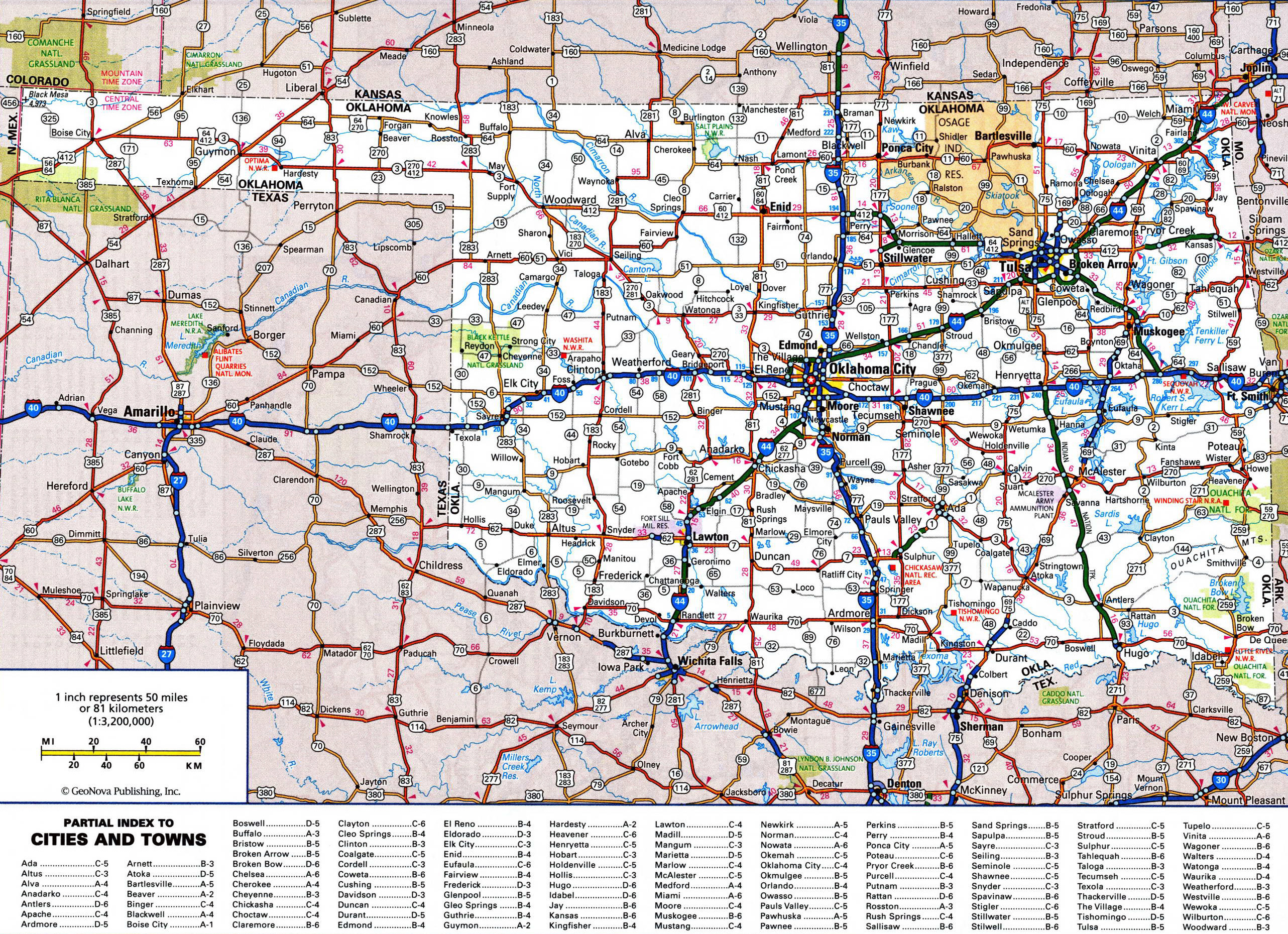 Large Detailed Roads And Highways Map Of Oklahoma State With All - Usa map with cities and highways