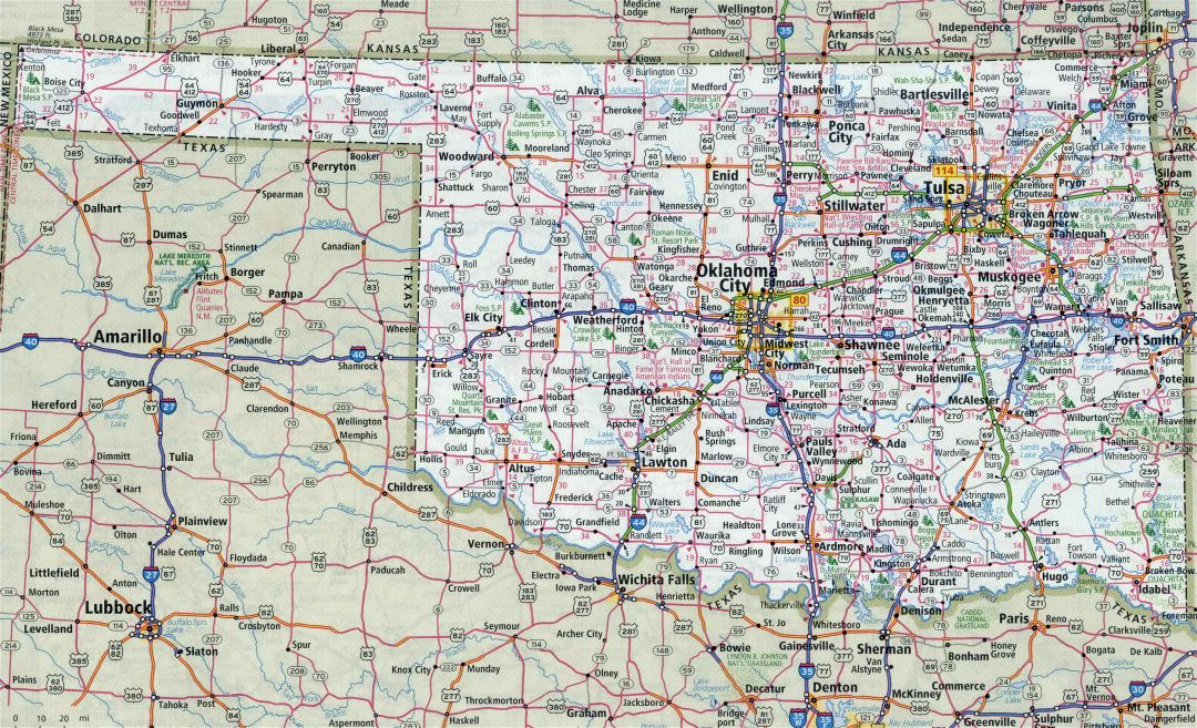 Large detailed roads and highways map of Oklahoma state with all cities