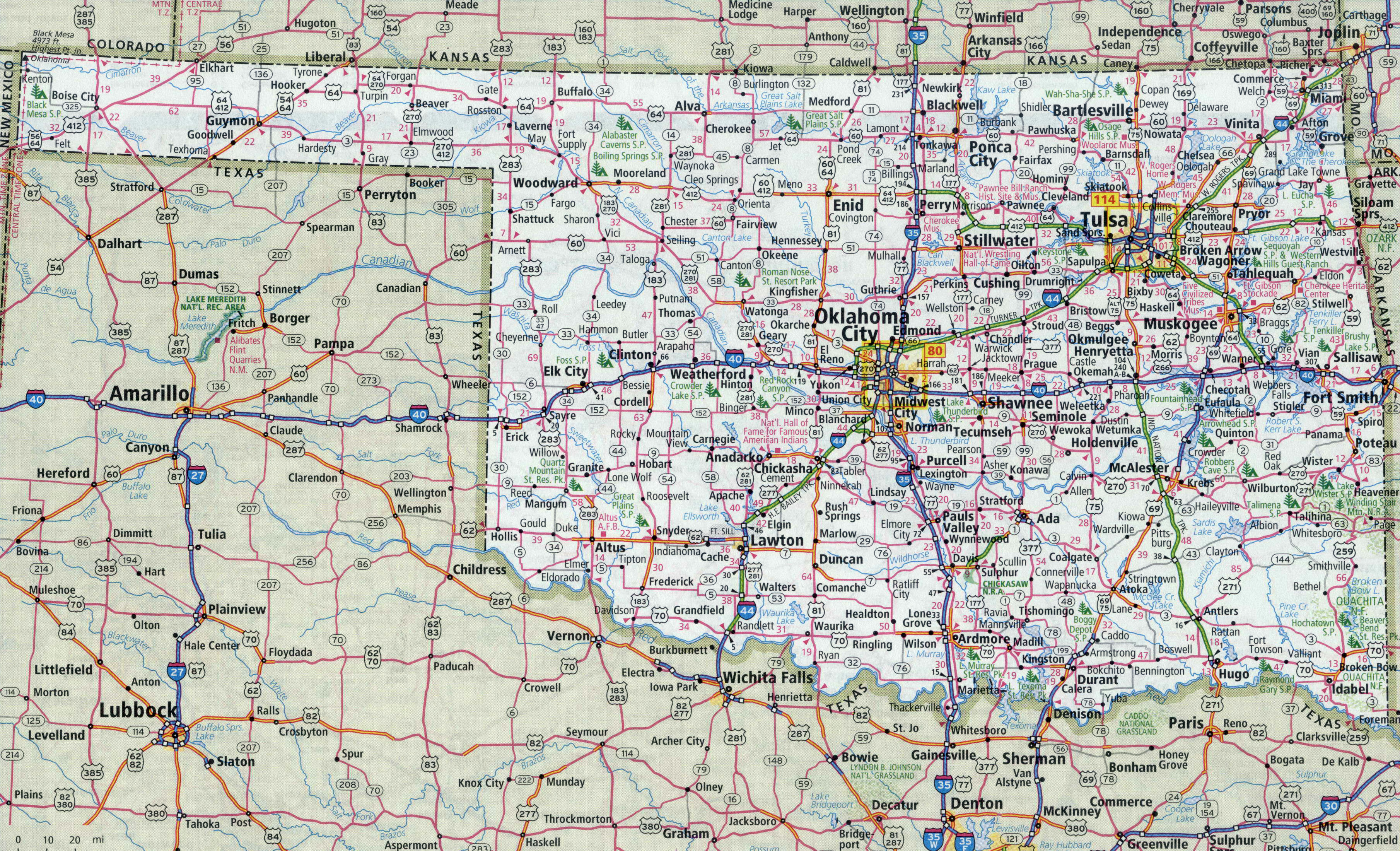 Large detailed roads and highways map of Oklahoma state with all ...